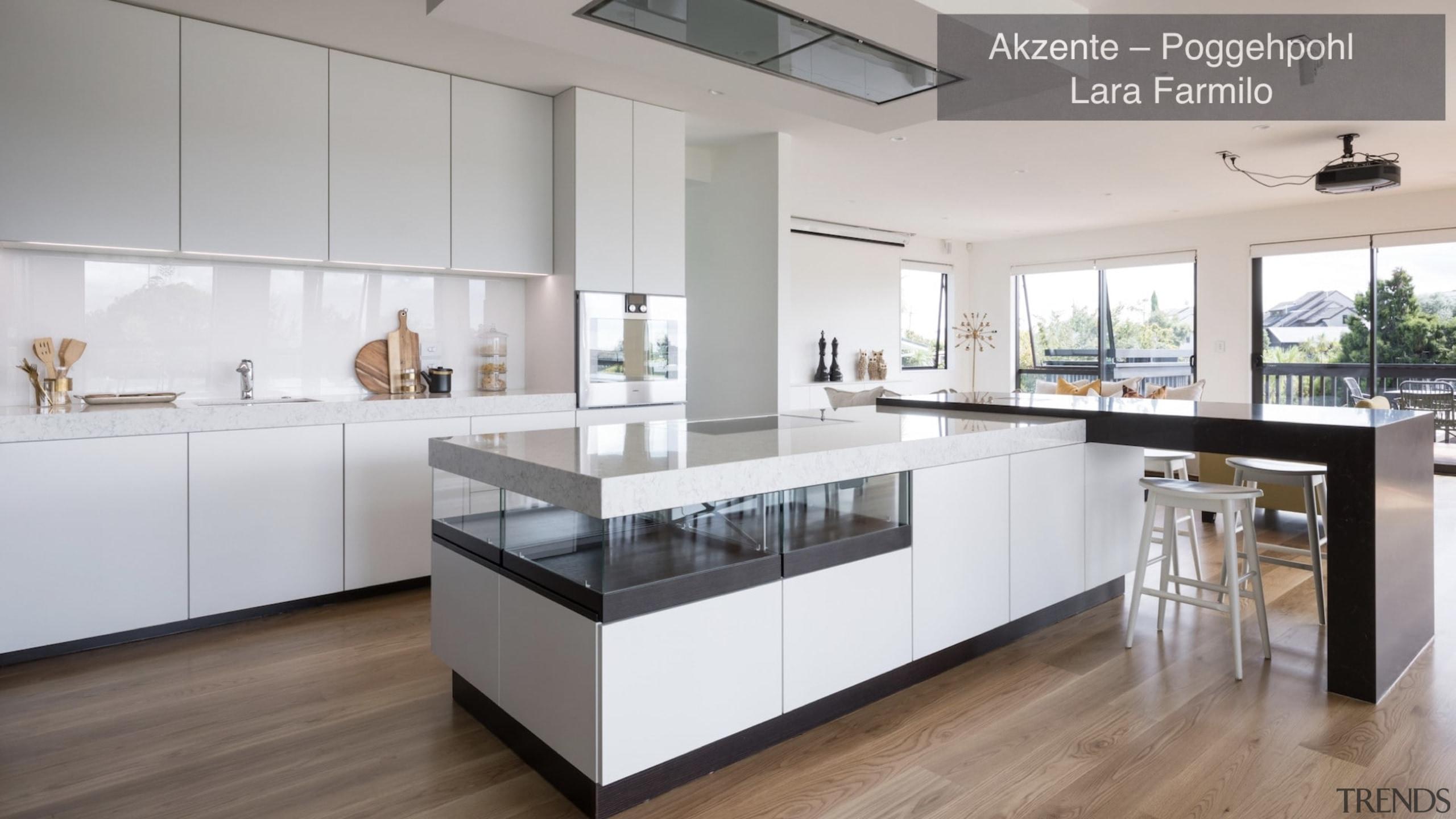 Highly Commended – Akzente/Poggenpohl Lara Farmilo – Tida countertop, cuisine classique, floor, interior design, kitchen, real estate, gray, white