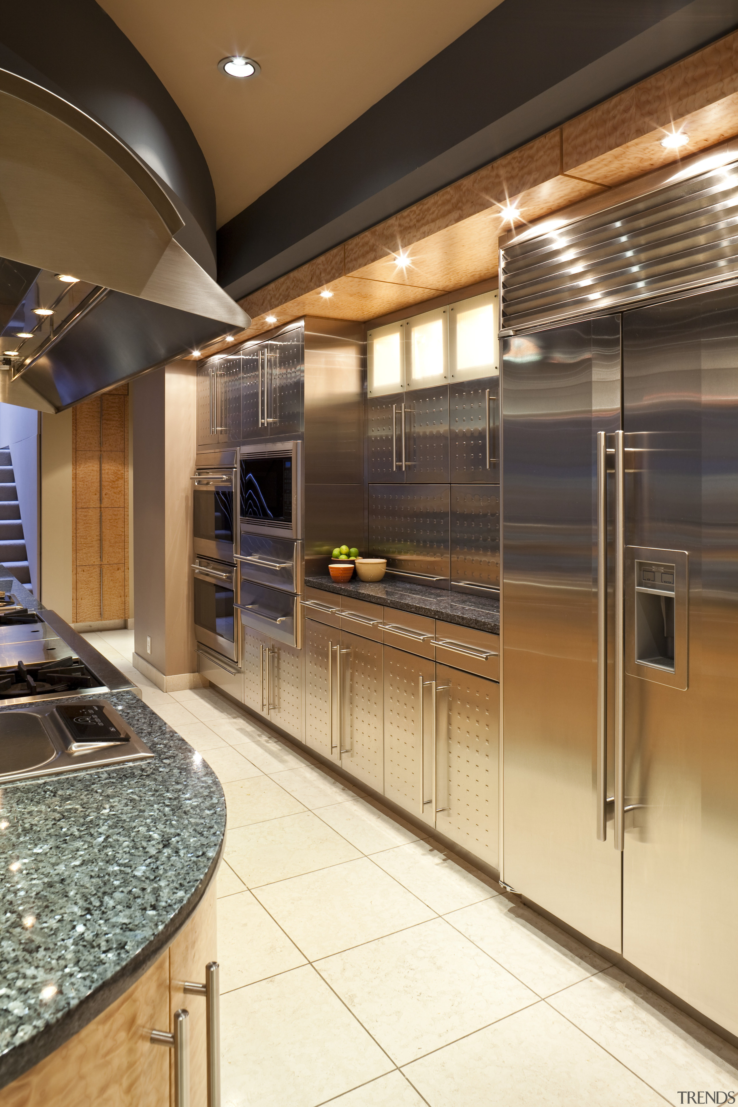 View of a kitchen which features a granite cabinetry, ceiling, countertop, interior design, kitchen, brown
