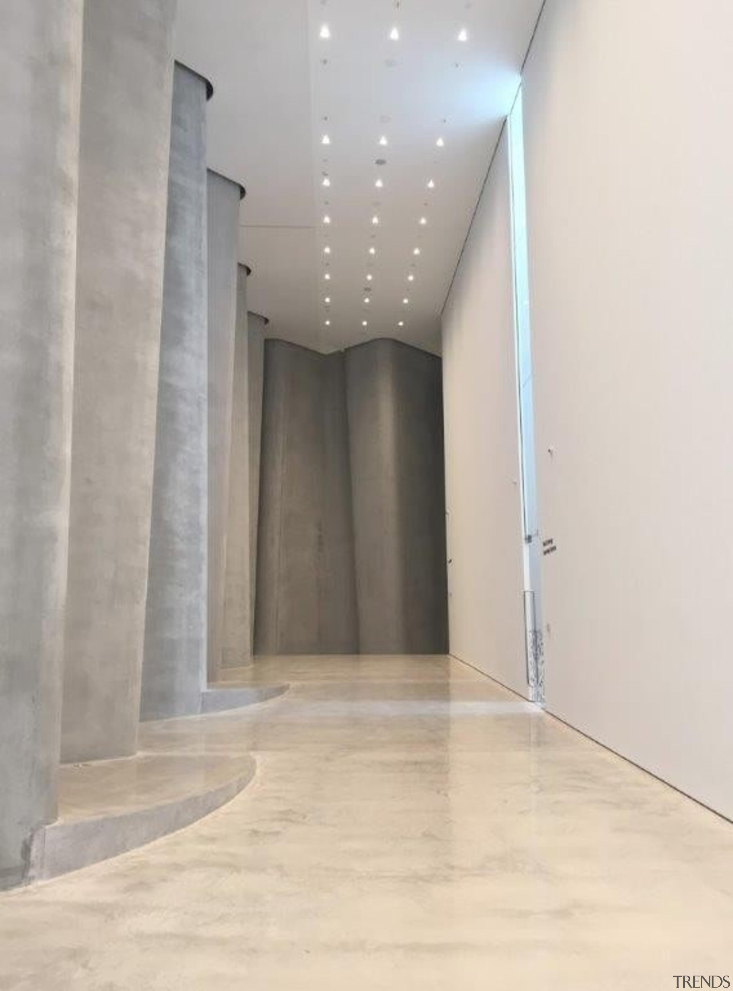 The Len Lye Centre 02 - The Len ceiling, daylighting, floor, flooring, interior design, lighting, property, wall, gray