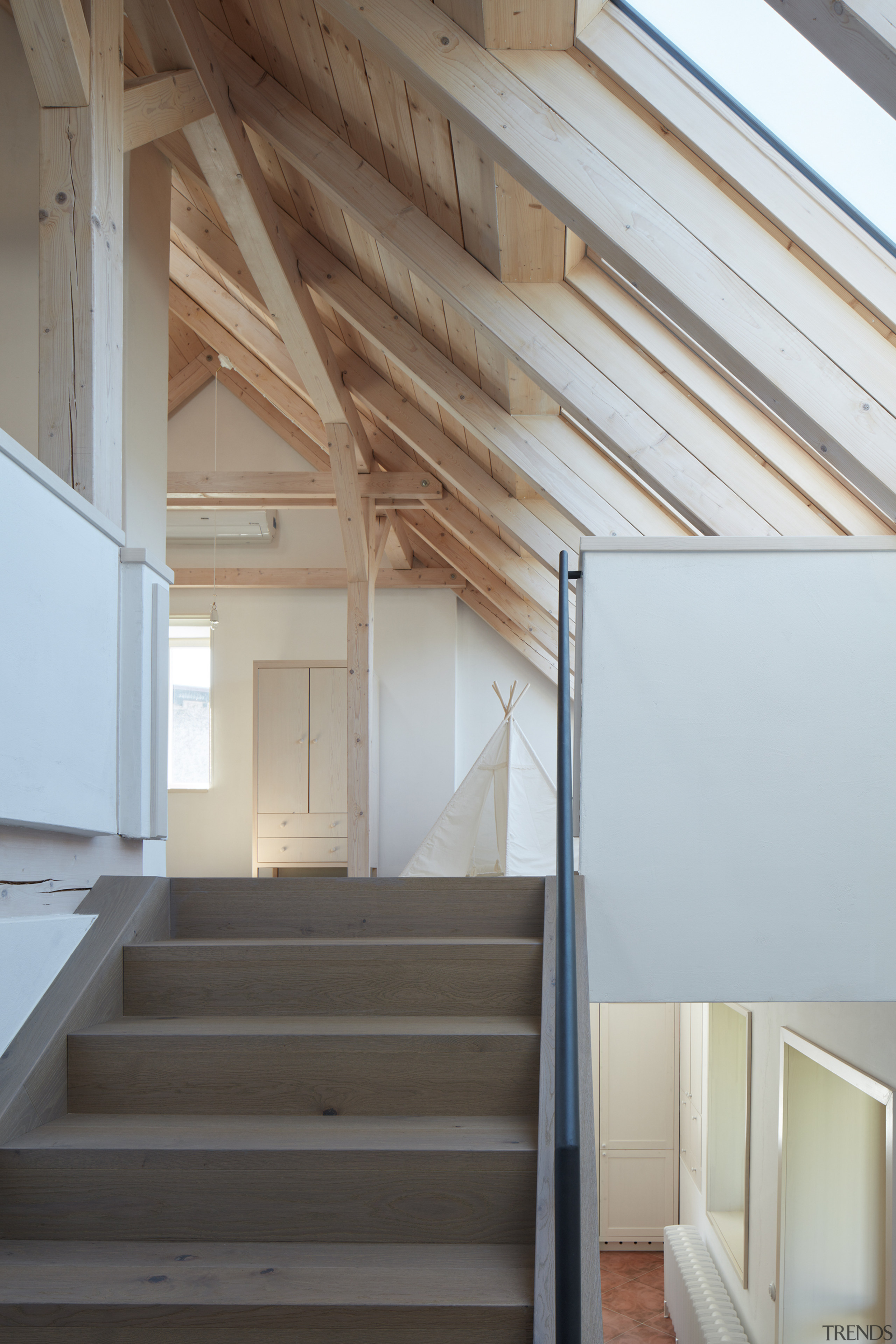 Up the stairs to the reinvented attic. -