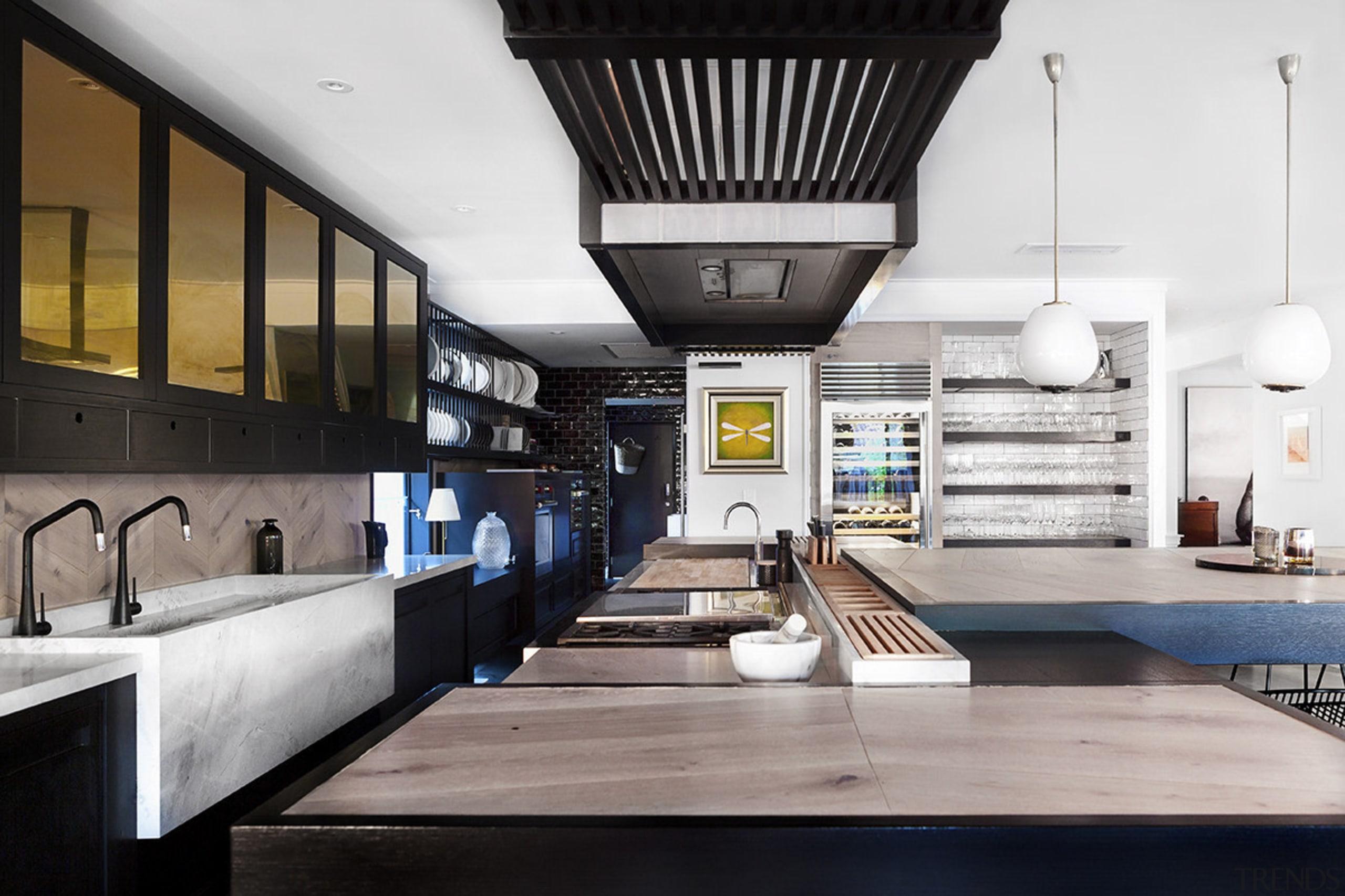 For the kitchen in his own home, designer interior design, white, black