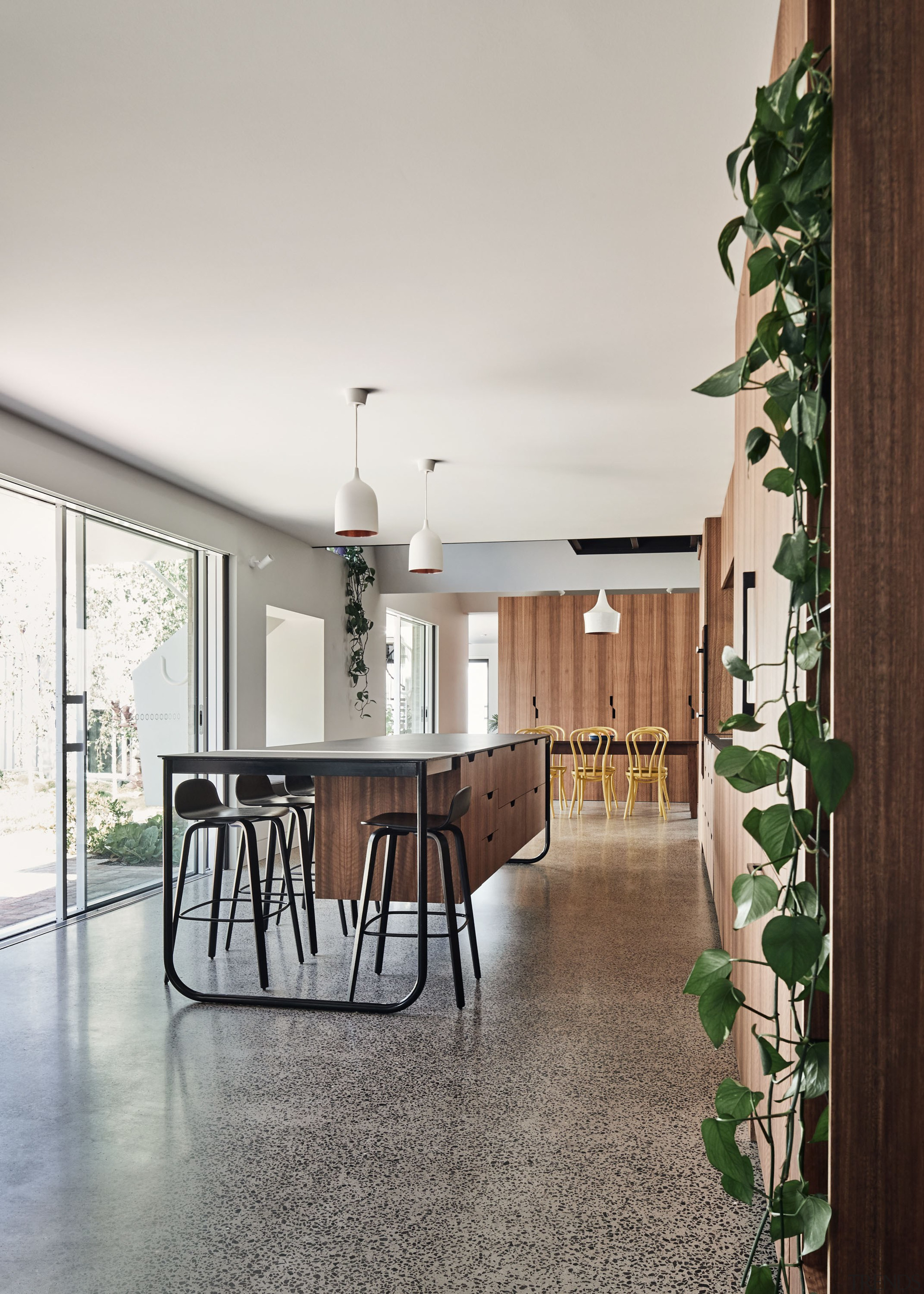 Polished Salt & Pepper concrete floors are a white