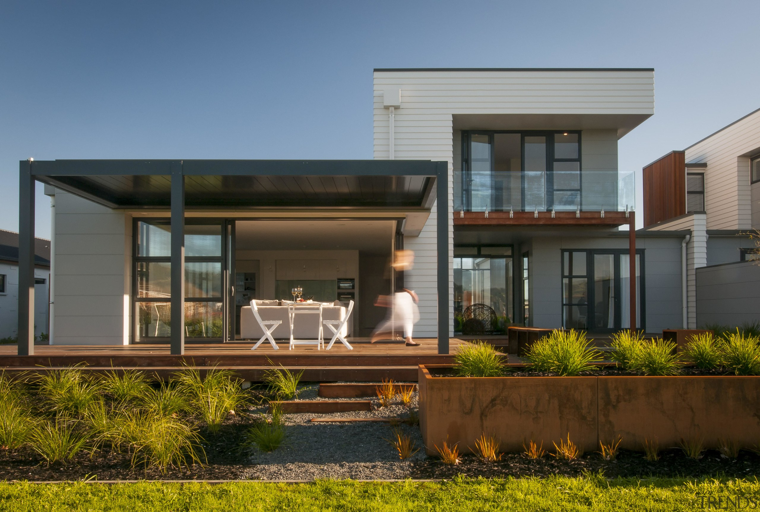Two low-maintenance James Hardie cladding products help bring architecture, elevation, estate, facade, home, house, property, real estate, residential area, roof, window, brown