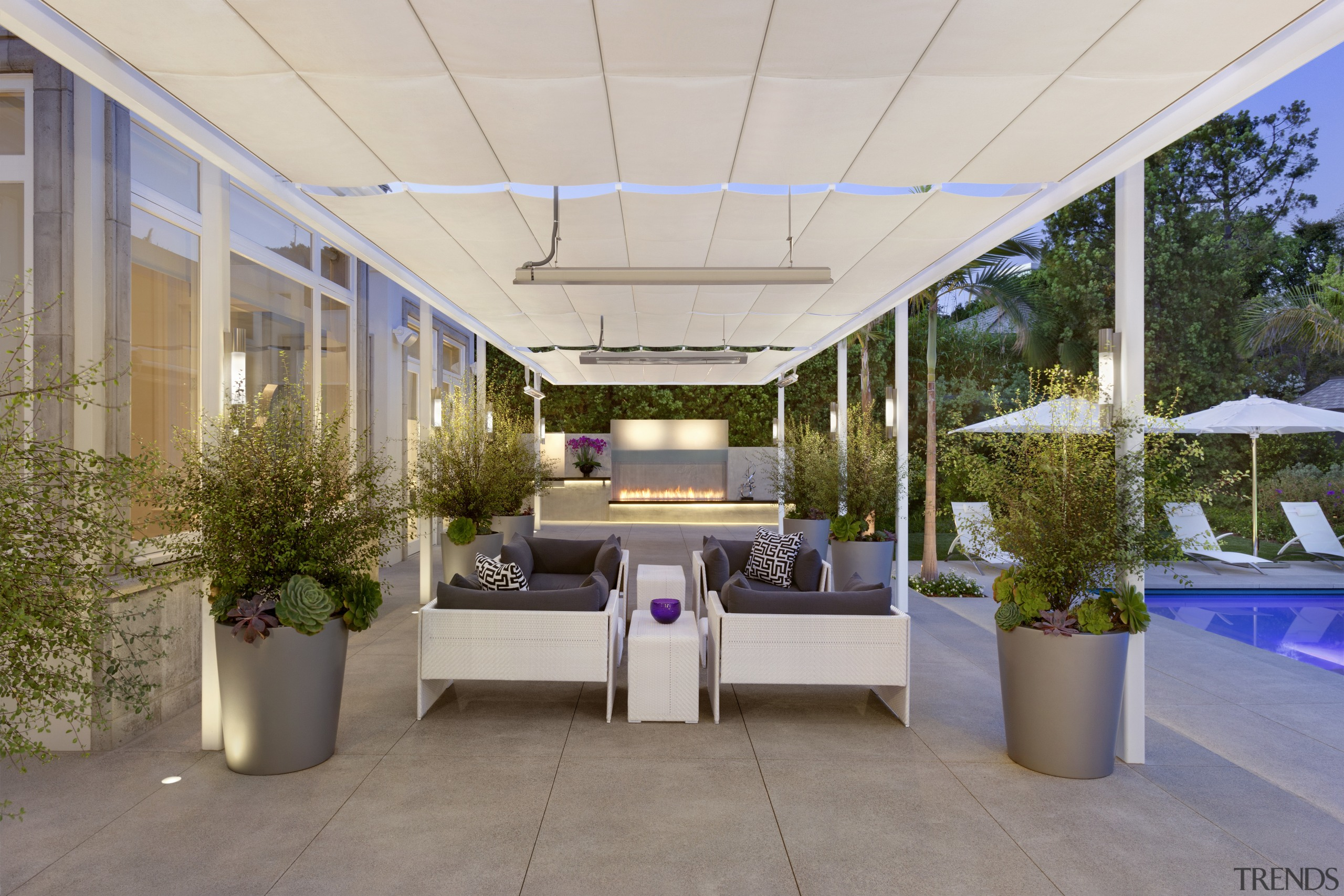 View of the patio area. - View of estate, interior design, patio, real estate, roof, gray