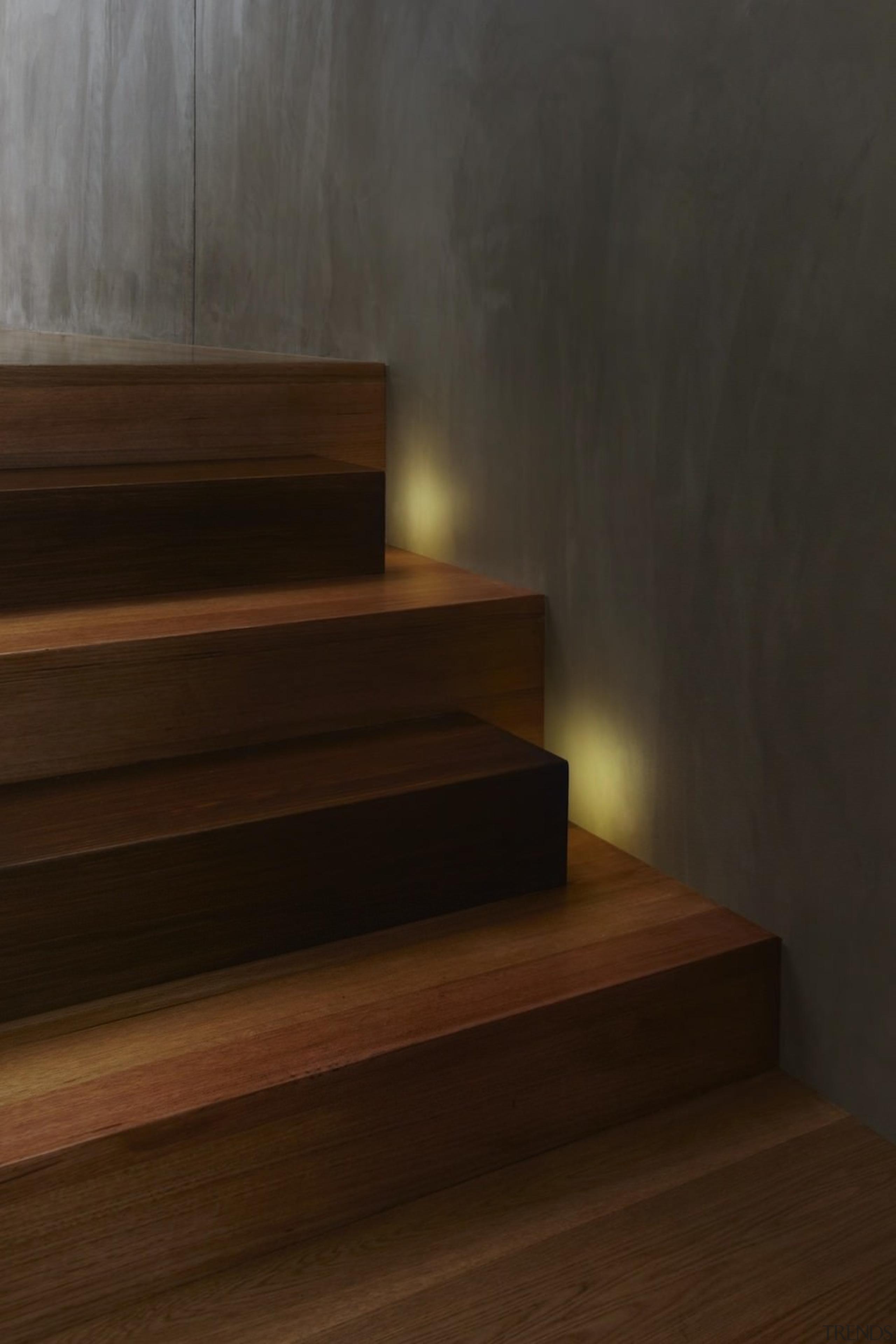 Watch your step – hidden lights face the floor, flooring, hardwood, interior design, laminate flooring, light, lighting, stairs, wall, wood, wood flooring, wood stain, brown, black