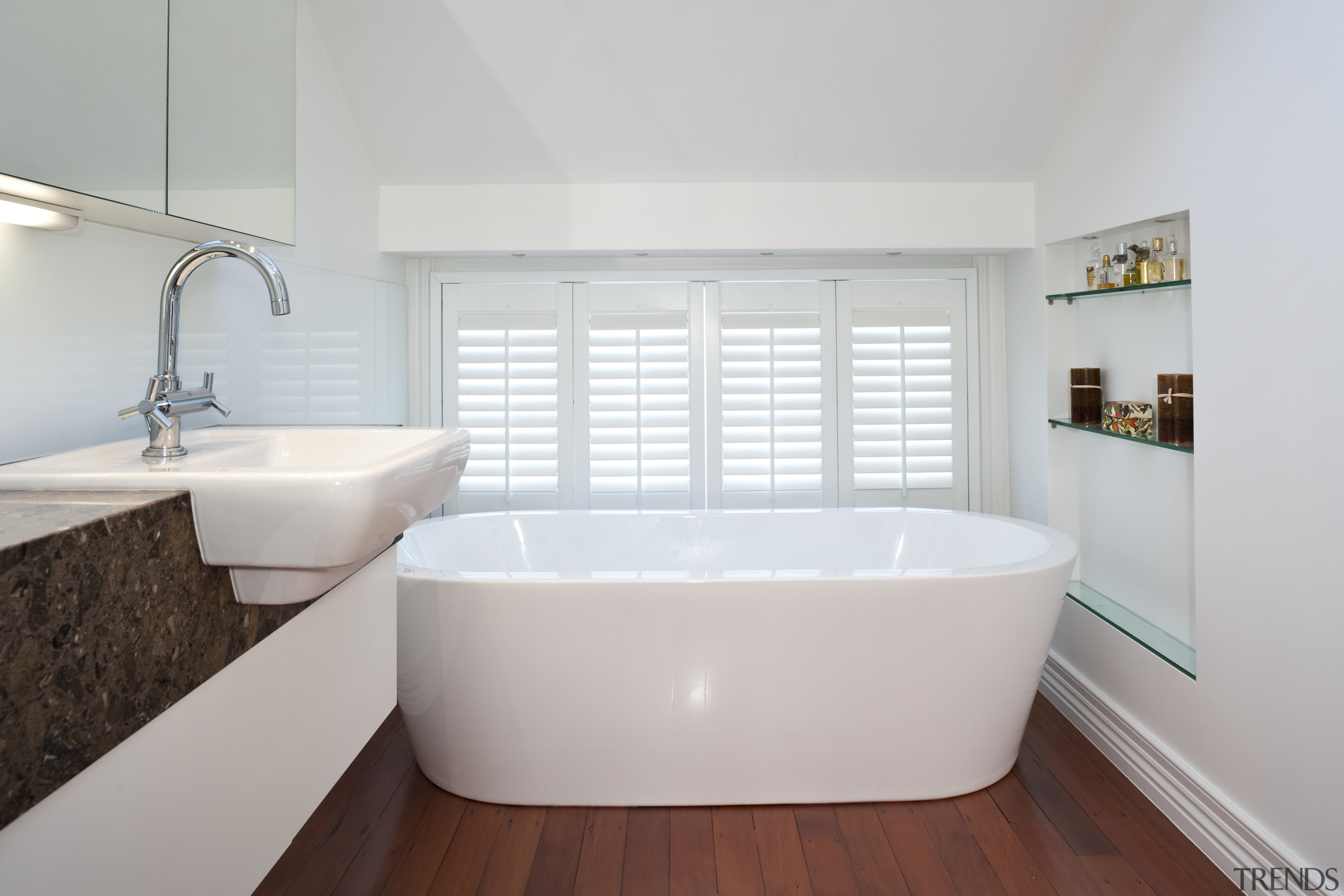 View of this remodeled contemporary bathroom - View architecture, bathroom, bathroom sink, bathtub, floor, home, interior design, plumbing fixture, property, real estate, room, sink, tap, tile, window, gray, white
