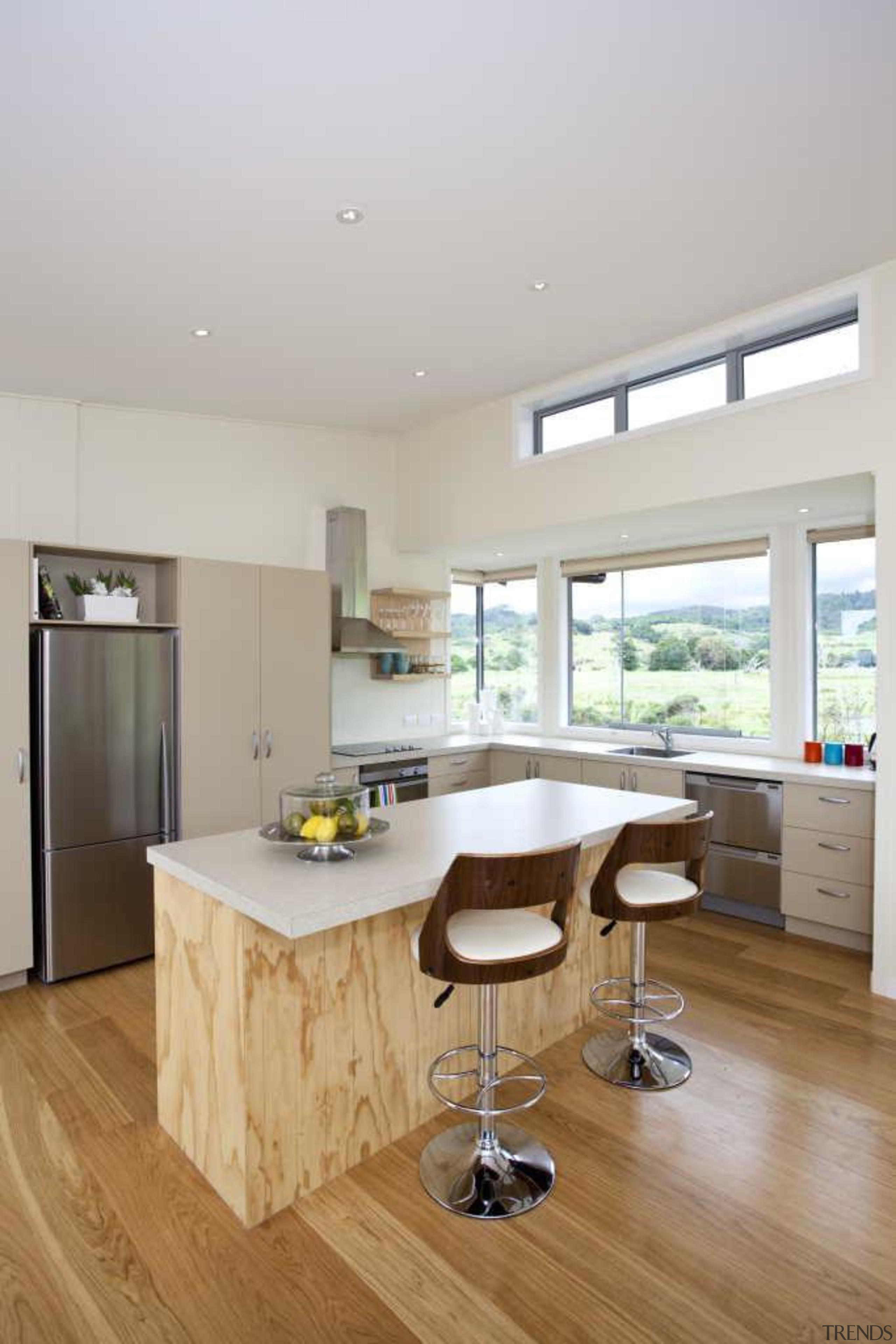 Timber flooring - Kitchen - countertop   floor countertop, floor, flooring, hardwood, interior design, kitchen, laminate flooring, real estate, room, wood flooring, gray