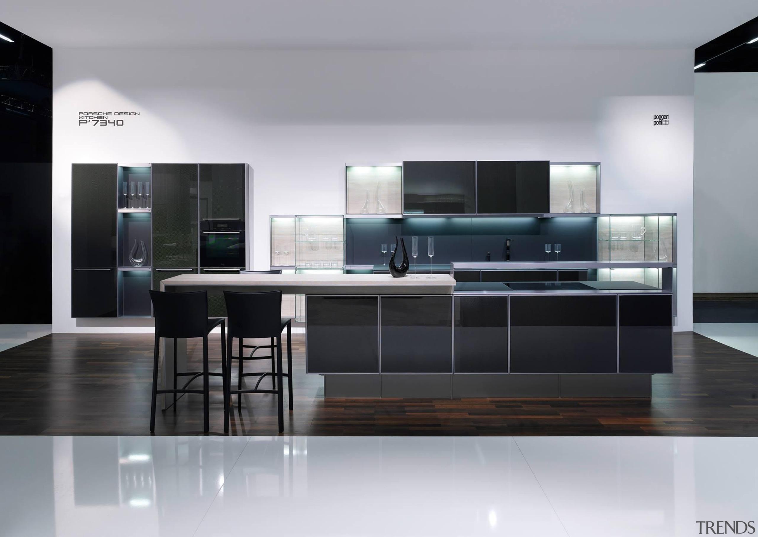 Showroom kitchenFor more information, please visit Poggenpohl countertop, floor, furniture, interior design, kitchen, product design, gray, black
