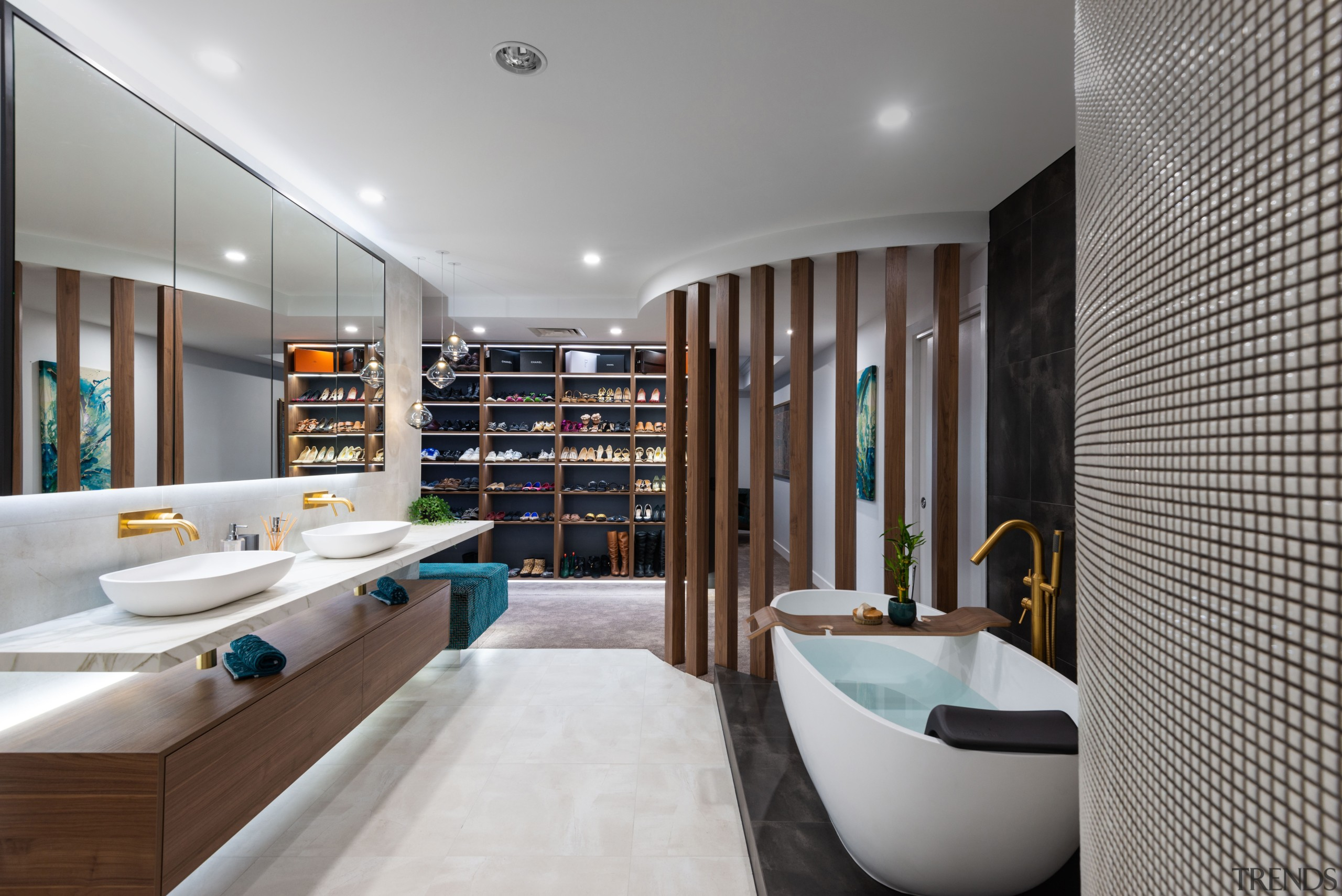 A master class in bringing light and life architecture, bathroom, bathtub, building, ceiling, floor, furniture, home, house, interior design, plumbing fixture, property, real estate, room, sink, tap, tile, gray