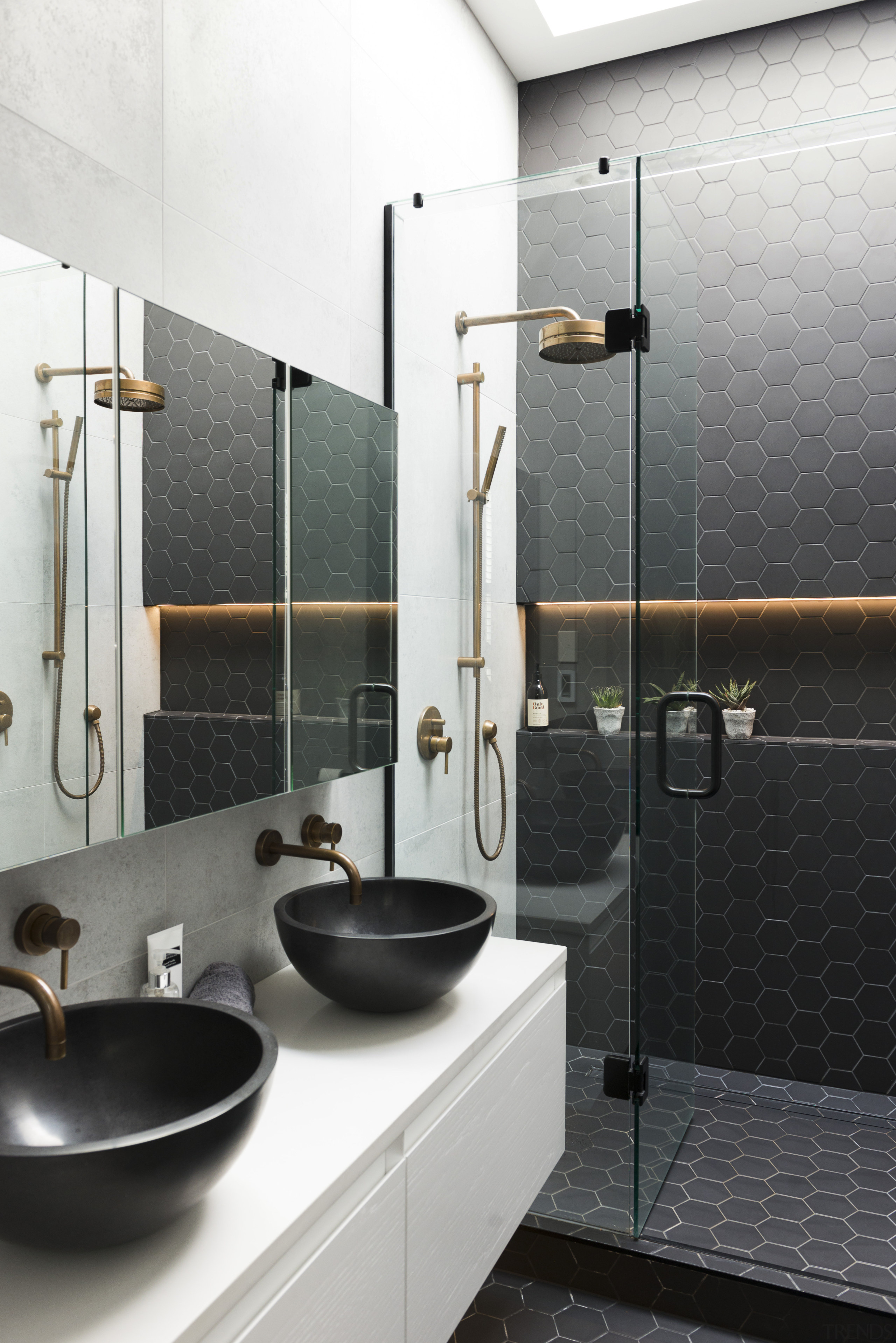 Black tiles, concrete tiles, and brass fittings all bathroom, interior design, plumbing fixture, product design, room, sink, tap, white, black