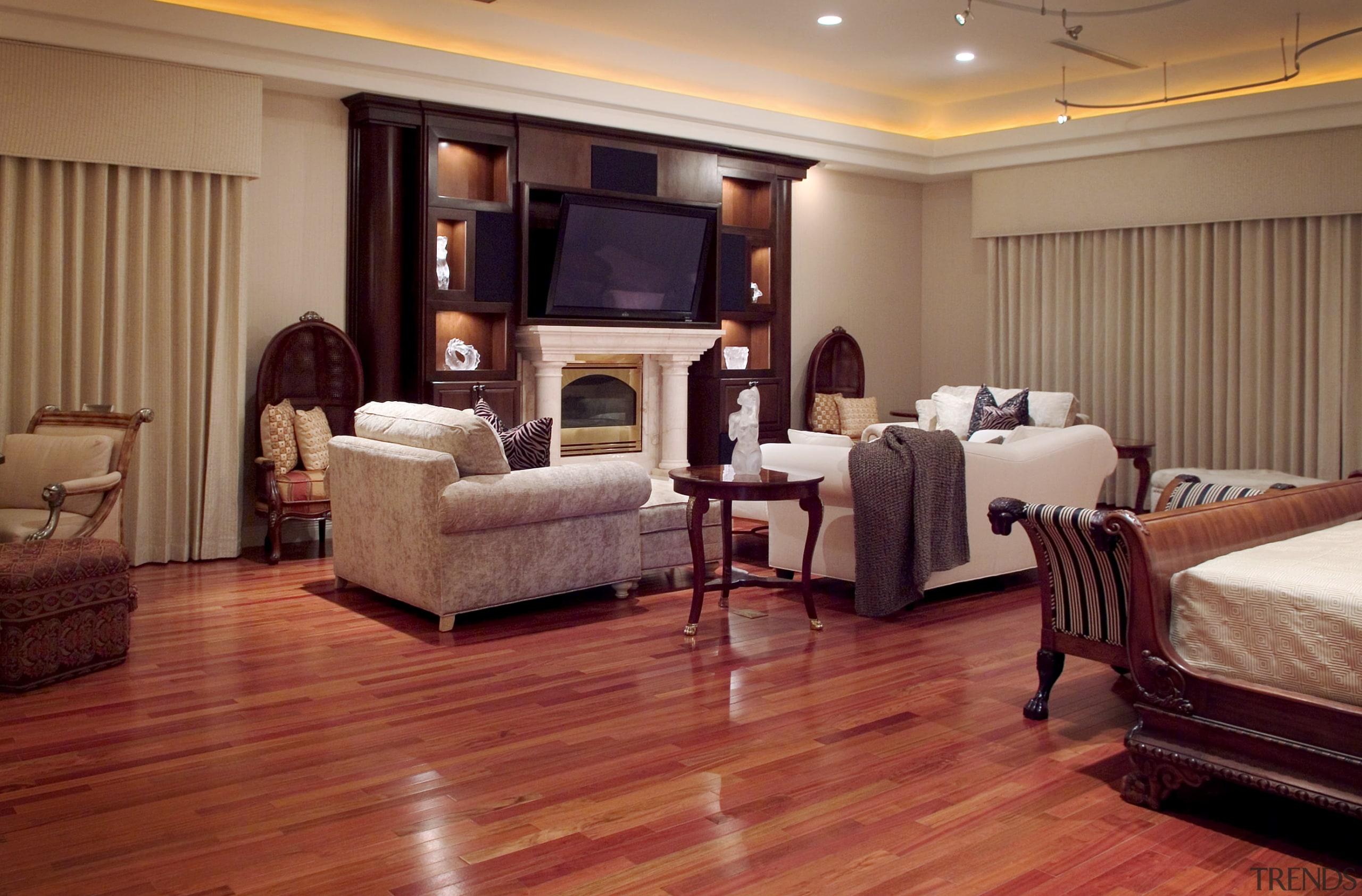 Master bedroom interior view - Master bedroom interior ceiling, floor, flooring, furniture, hardwood, interior design, laminate flooring, living room, room, suite, wood, wood flooring, brown, red