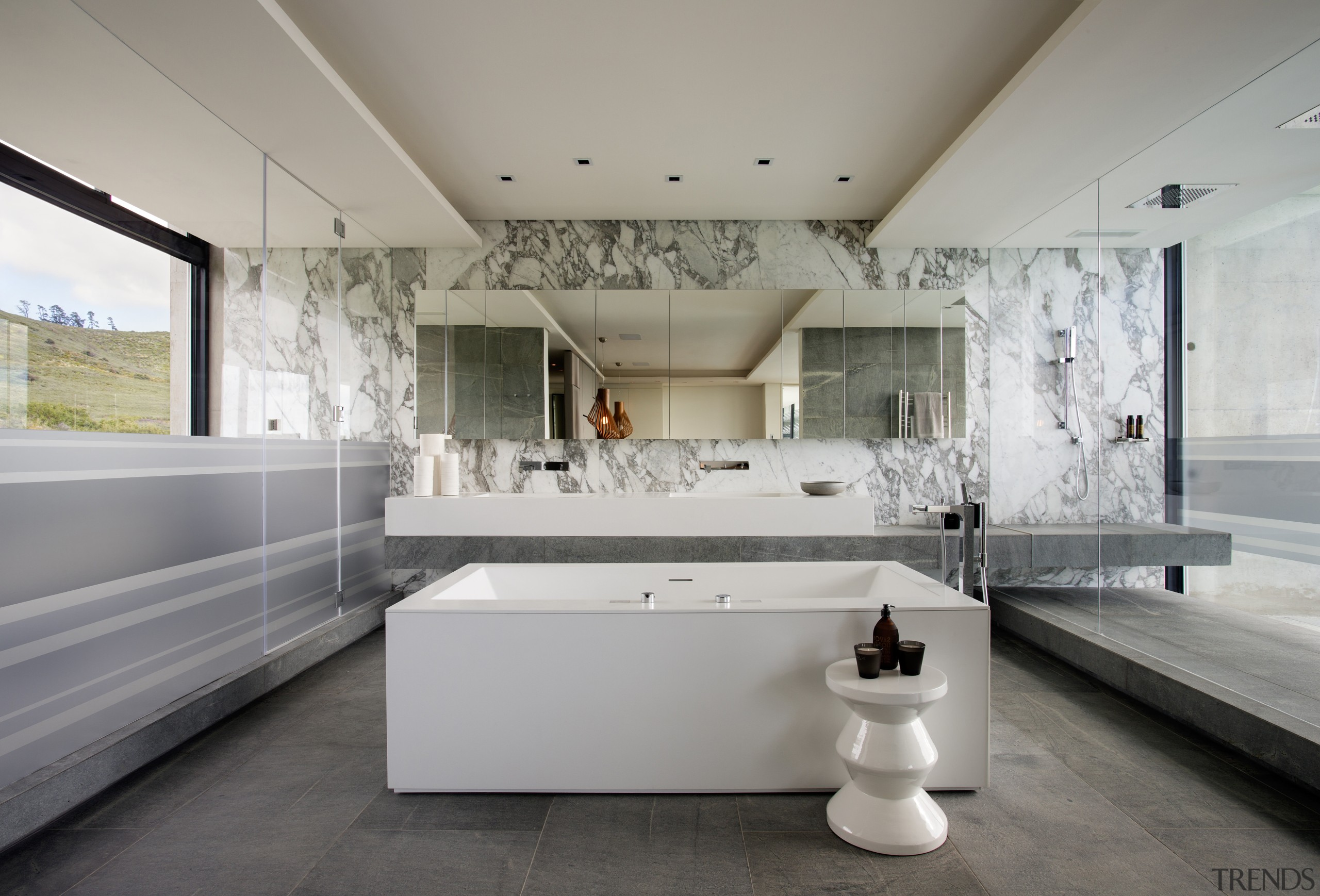 In this master bathroom, both the shower on architecture, bathroom, ceiling, daylighting, estate, home, interior design, gray