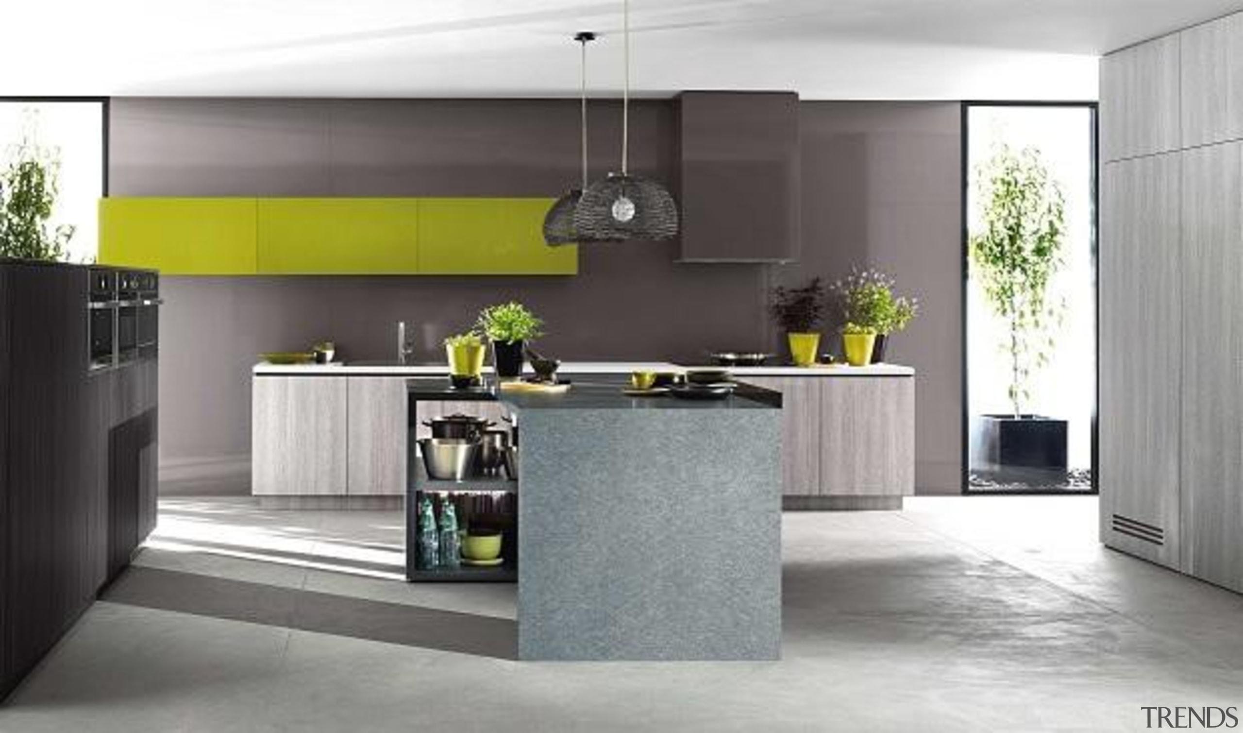 Featuring: Laminex HPL Bleached Wenge, Laminex Squareform Fresh countertop, cuisine classique, floor, interior design, kitchen, product design, gray, white