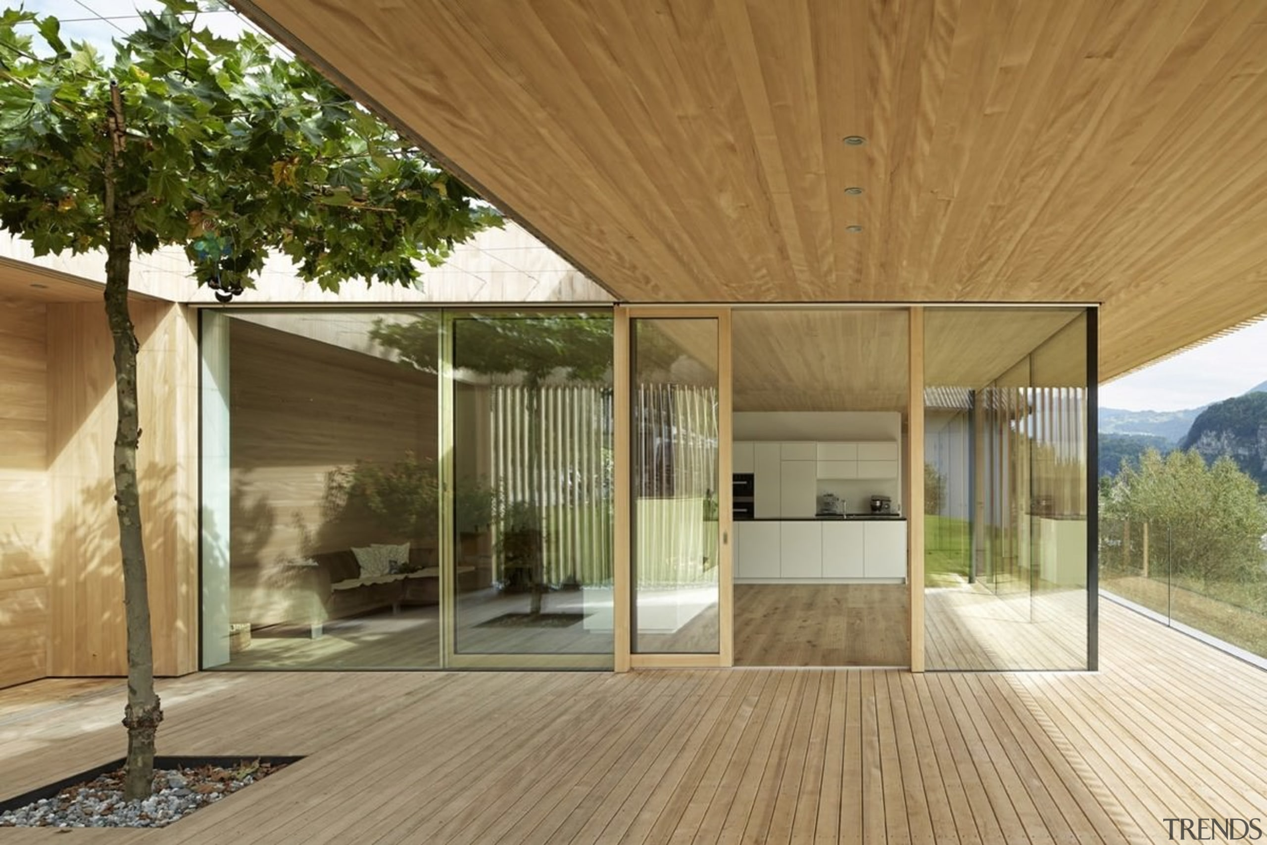 Architect: Helena Weber architectsPhotography by Adolf Bereuter architecture, floor, home, house, interior design, porch, real estate, wood, brown
