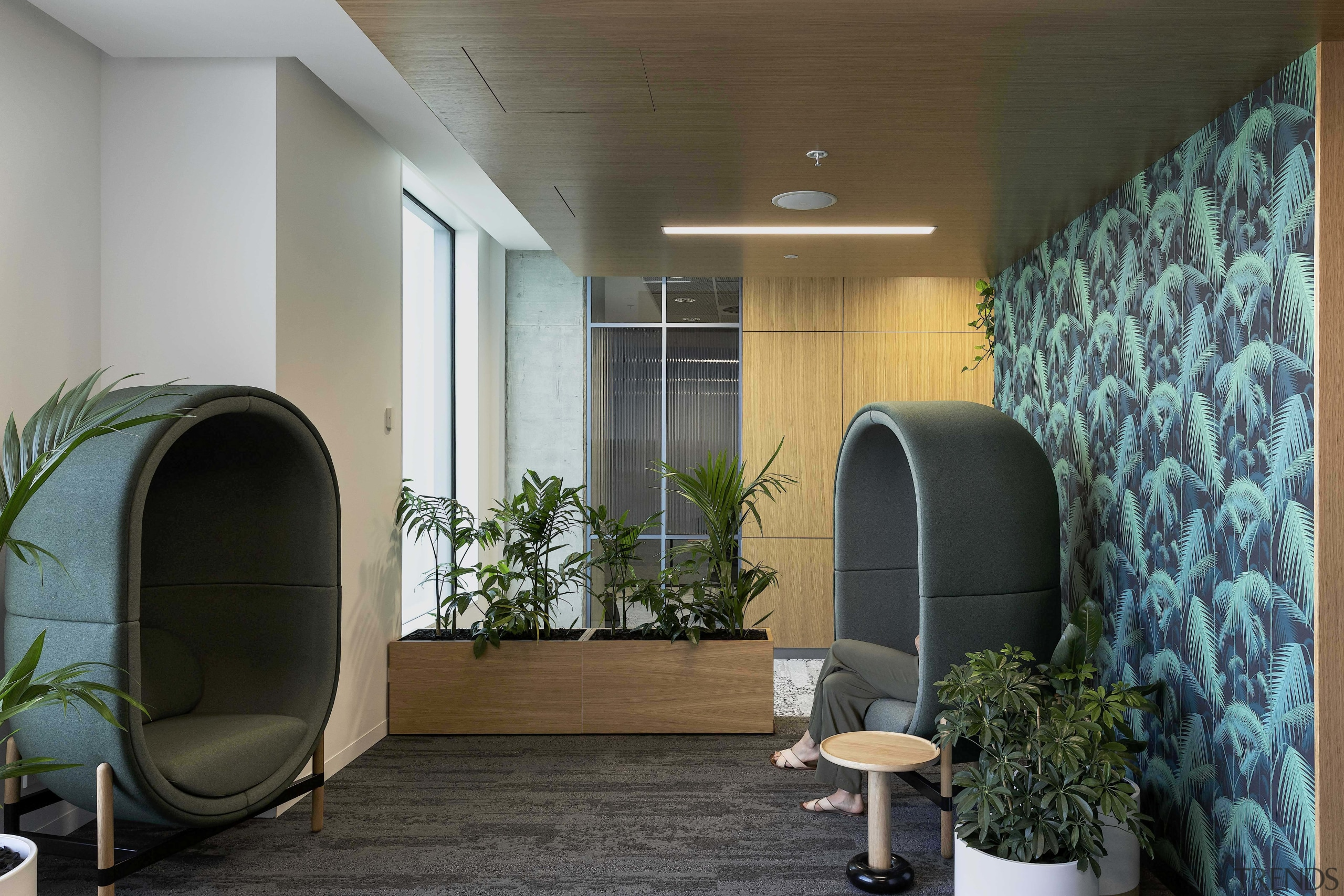 The fit-out caters to every possible staff need, gray, black