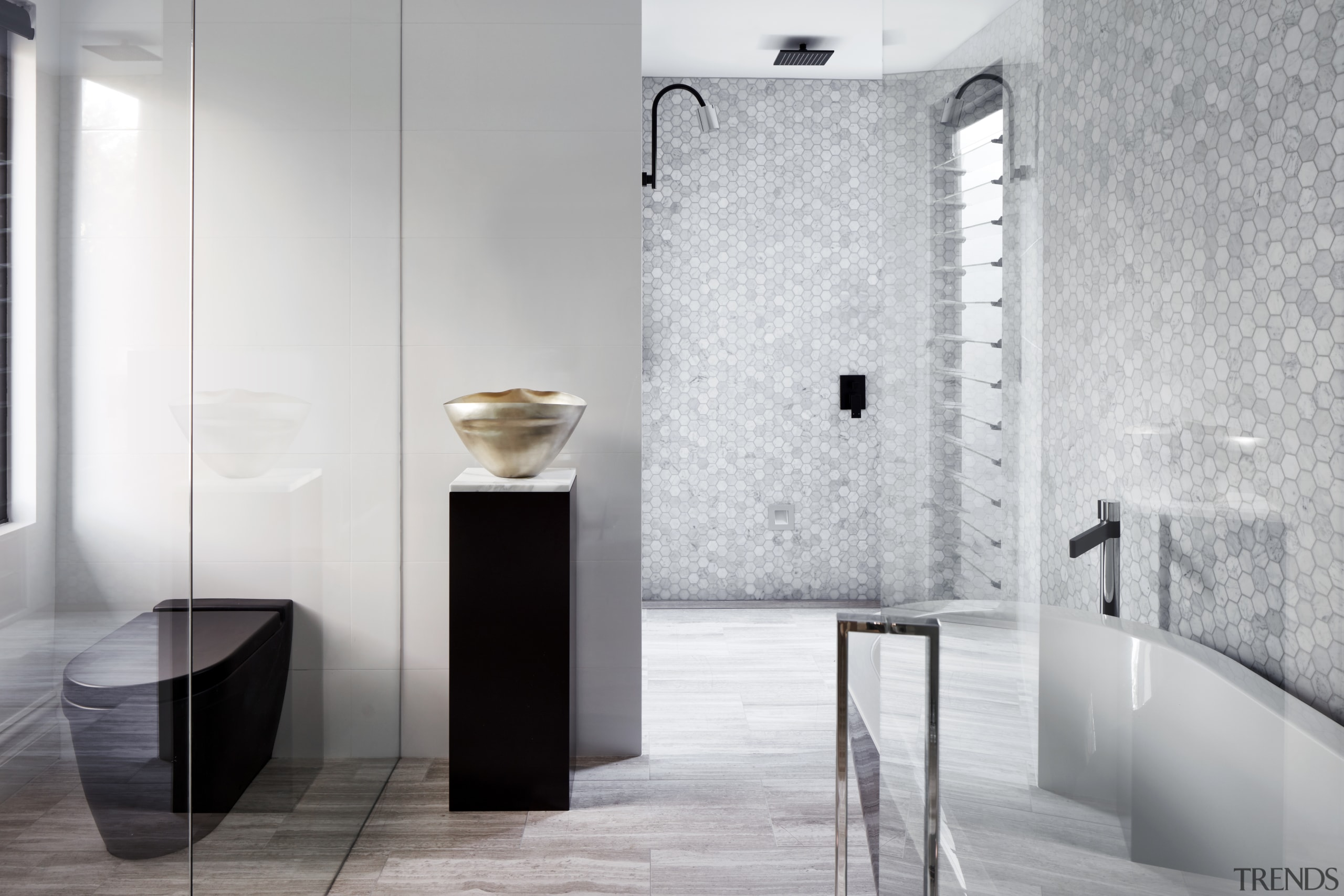 Looking more like an art gallery than a architecture, bathroom, black-and-white, interior design, plumbing fixture, shower, tap, tile, Archer Design