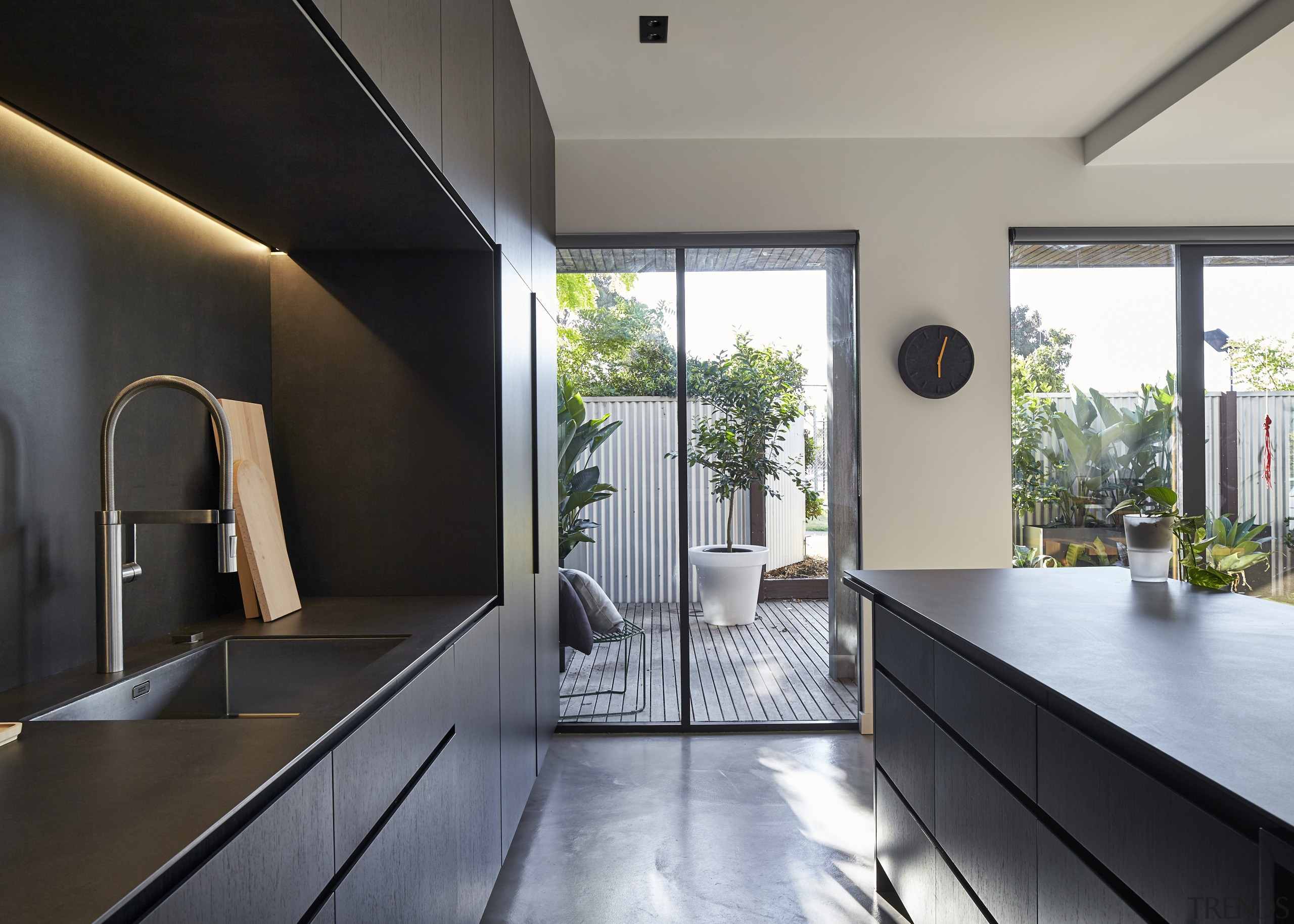 Although the cabinets in this kitchen appear black, architecture, countertop, house, interior design, kitchen, real estate, gray, black