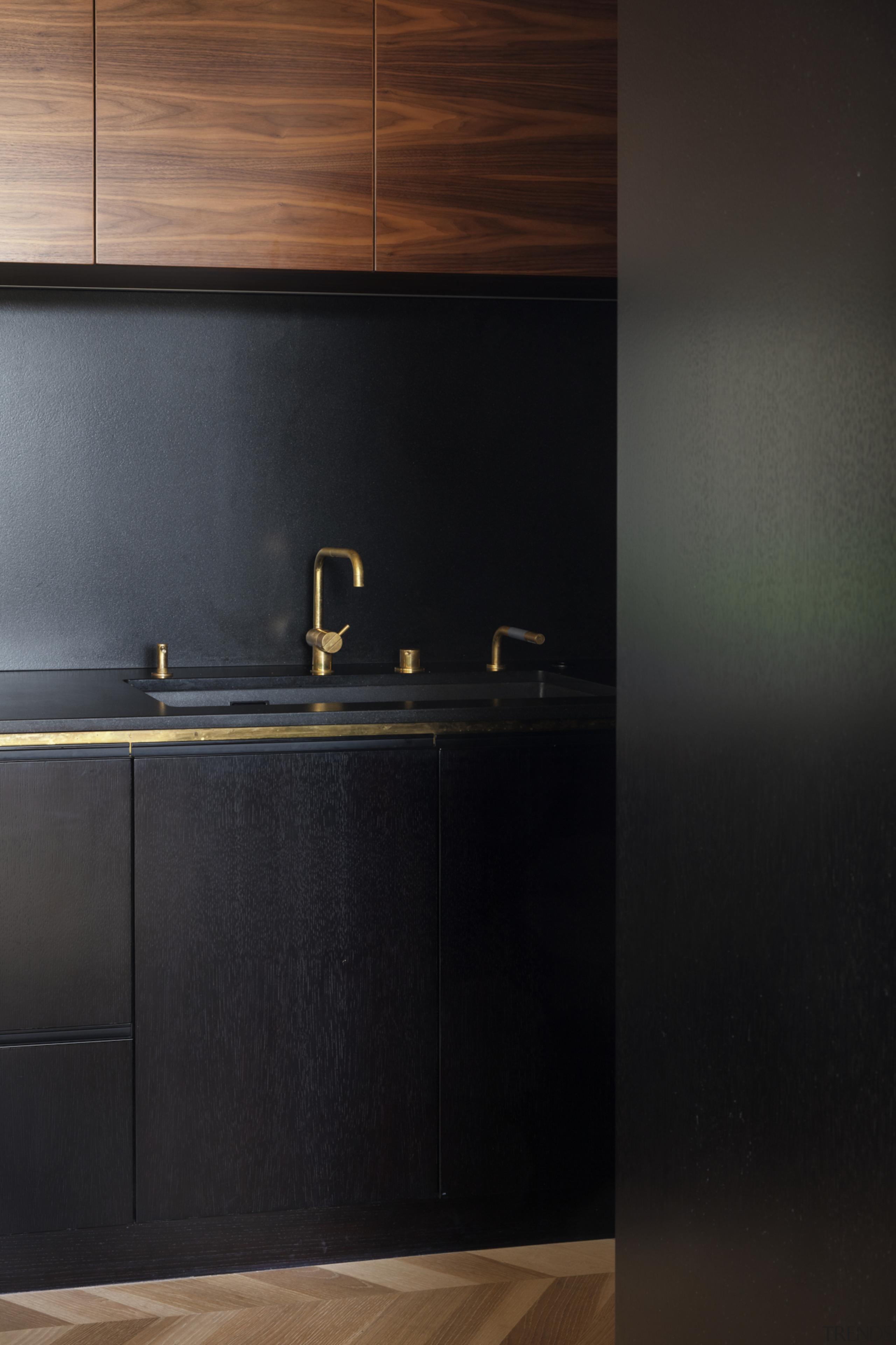 1970's home becomes a modern entertainer's dream - architecture, black, brown, cabinetry, countertop, cupboard, floor, flooring, furniture, hardwood, interior design, kitchen, lighting, line, material property, plywood, room, sink, tap, tile, wall, wood, black