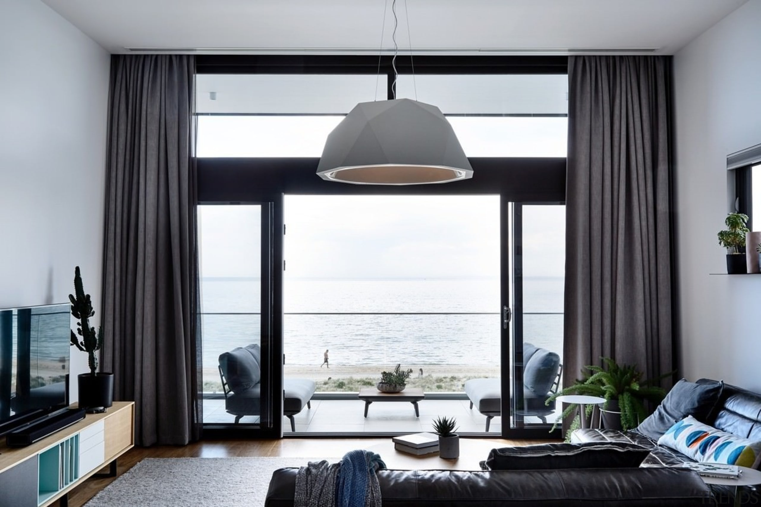 For sea lovers, there's no better place - ceiling, home, interior design, living room, room, window, window covering, window treatment, white, black