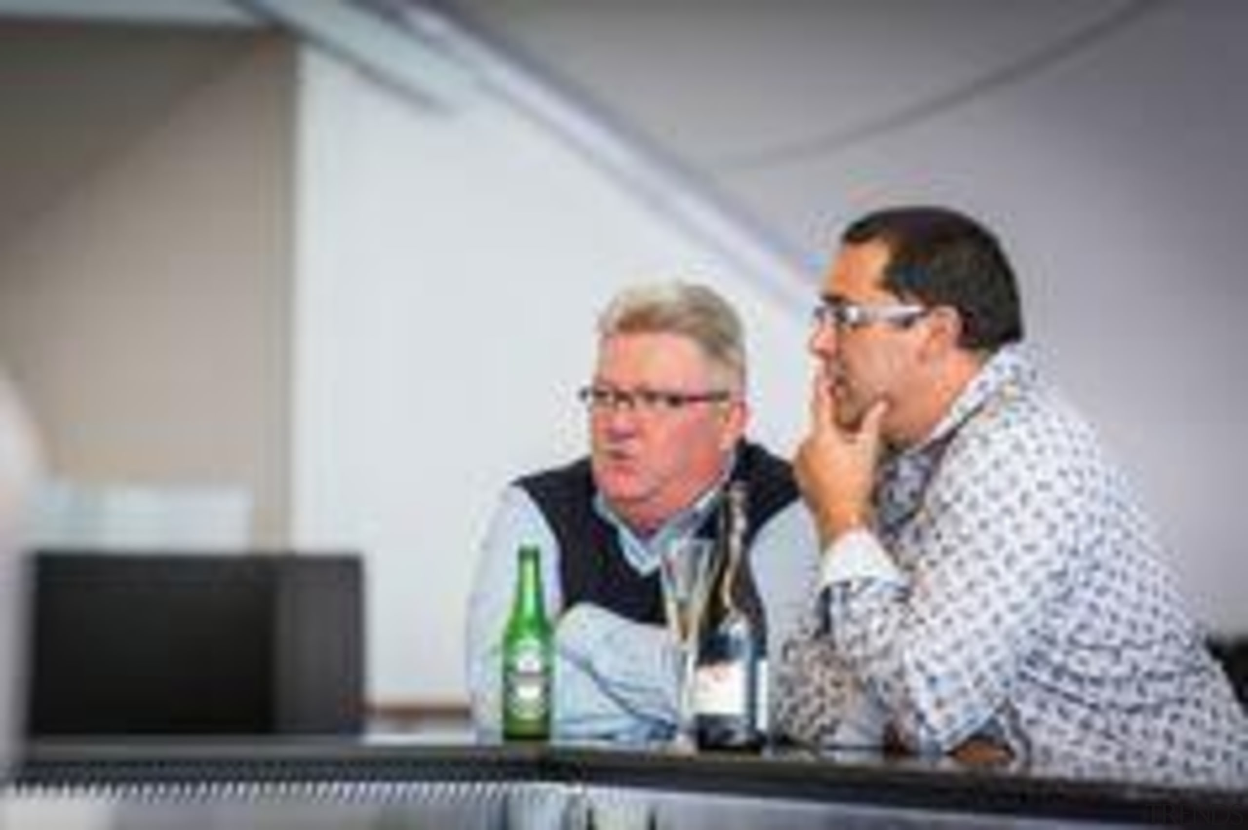 Robert Campion, right, Architectural Profiles Limited. communication, electronic device, technology, gray