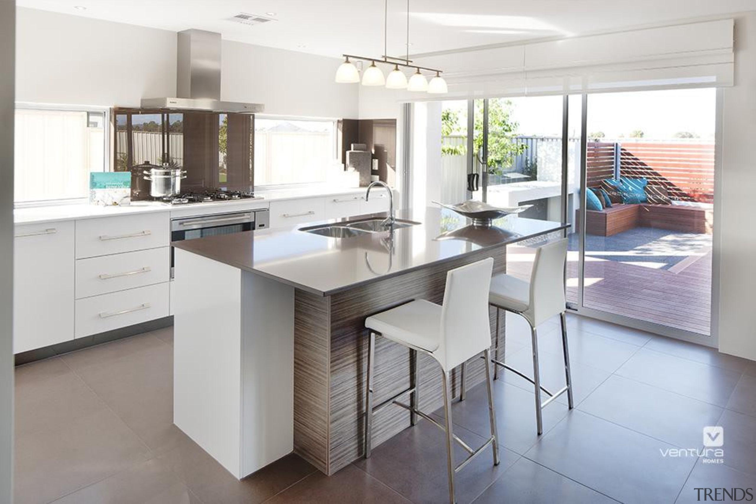 Kitchen design. - The Monticello Display Home - cabinetry, countertop, cuisine classique, floor, flooring, interior design, kitchen, real estate, room, white, gray