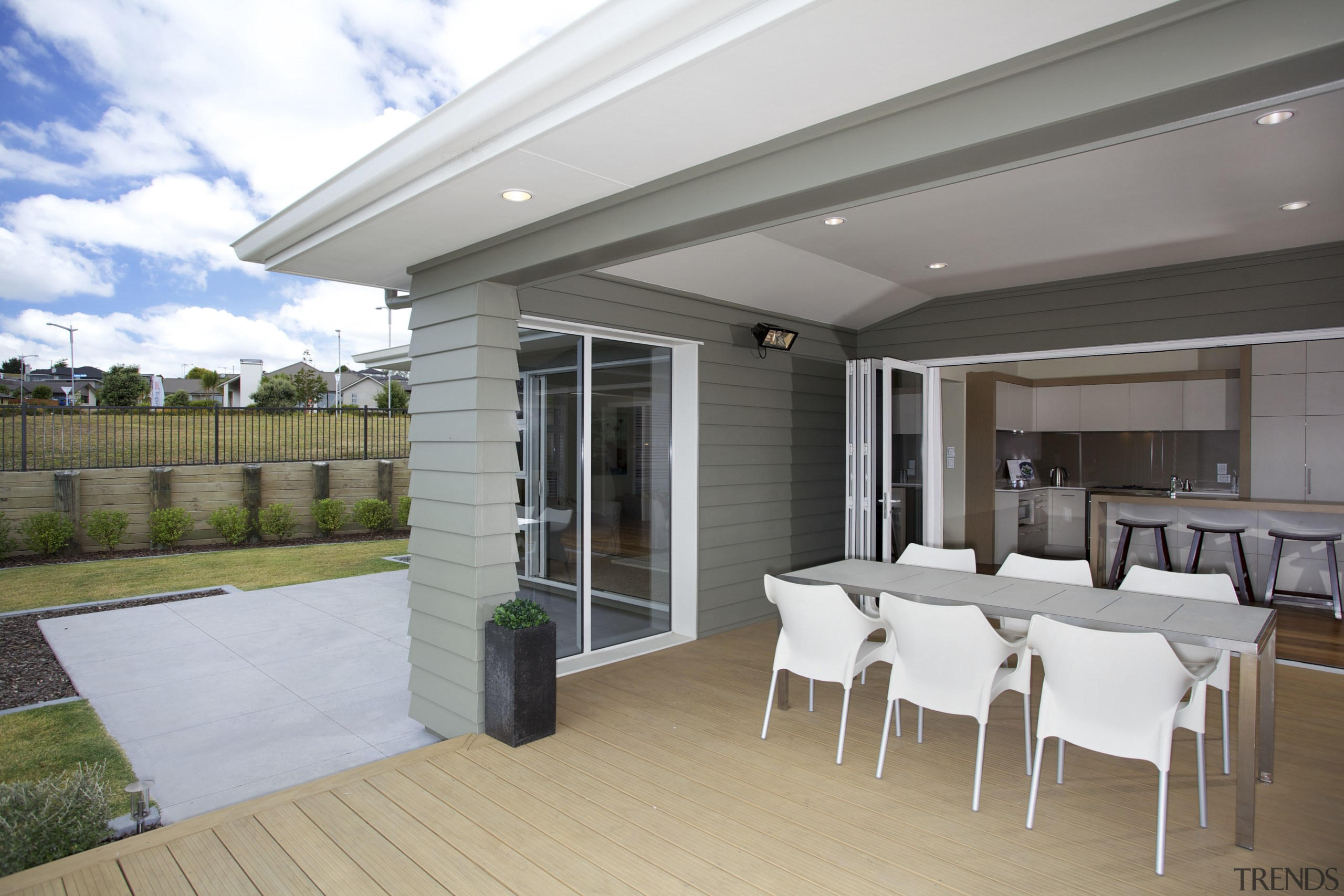 this show home has several features with a house, interior design, property, real estate, roof, window, gray