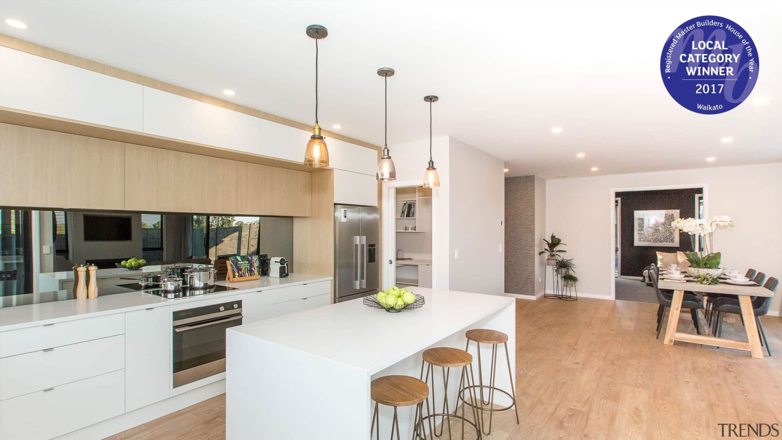Kitchen and living areas are open plan - countertop, interior design, kitchen, property, real estate, white