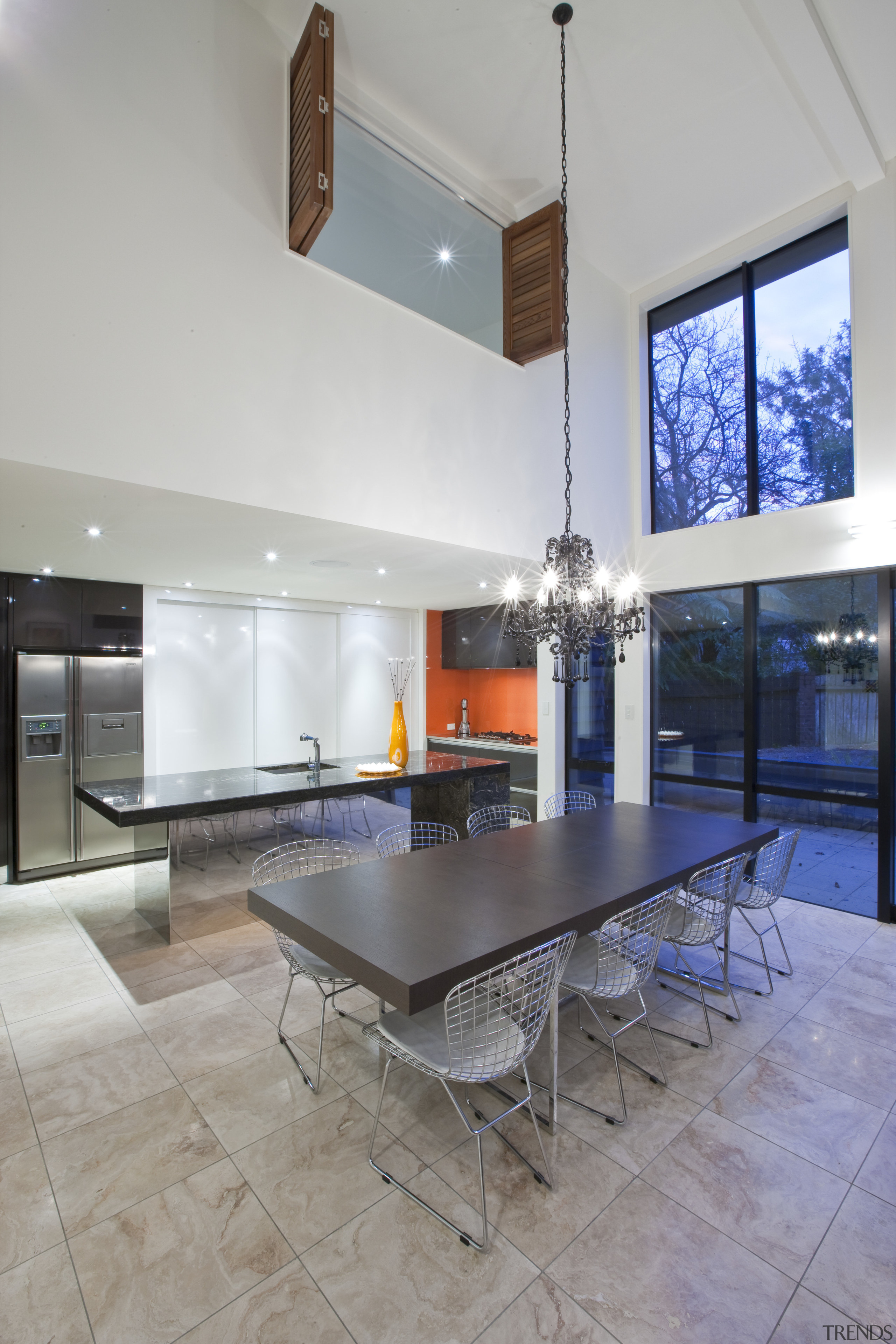 Clean-lined kitchen by Du Bois Design. Photography by architecture, ceiling, floor, flooring, house, interior design, living room, real estate, table, gray