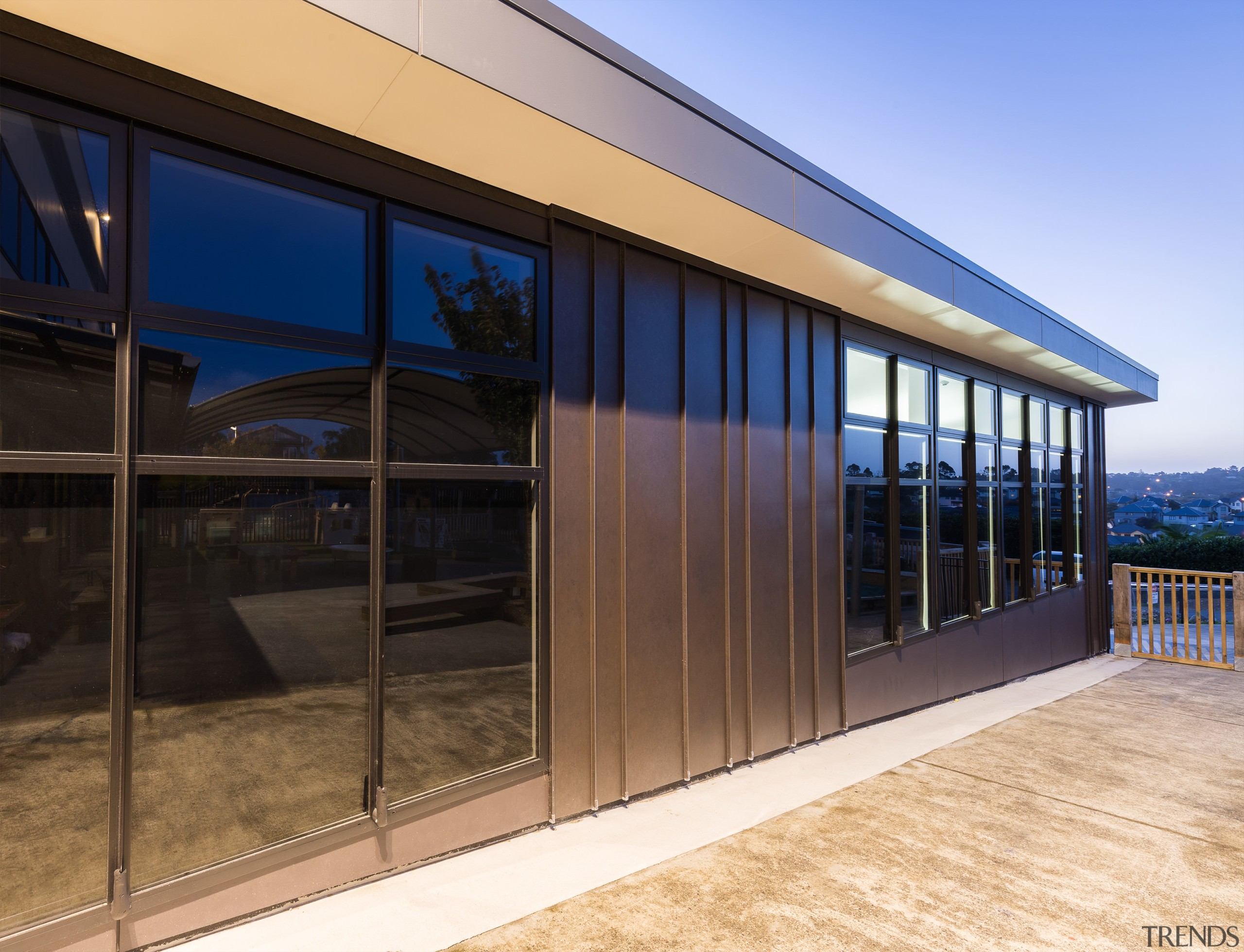 The design of these classrooms optimises natural light architecture, door, facade, home, house, real estate, siding, window, black