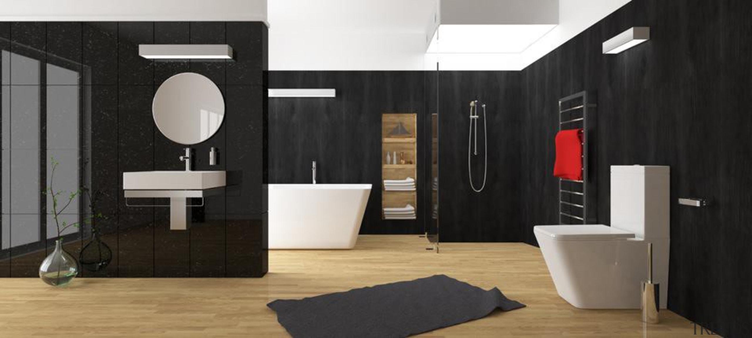 The elegantly rounded square profile of the Veloso bathroom, floor, flooring, interior design, plumbing fixture, room, black