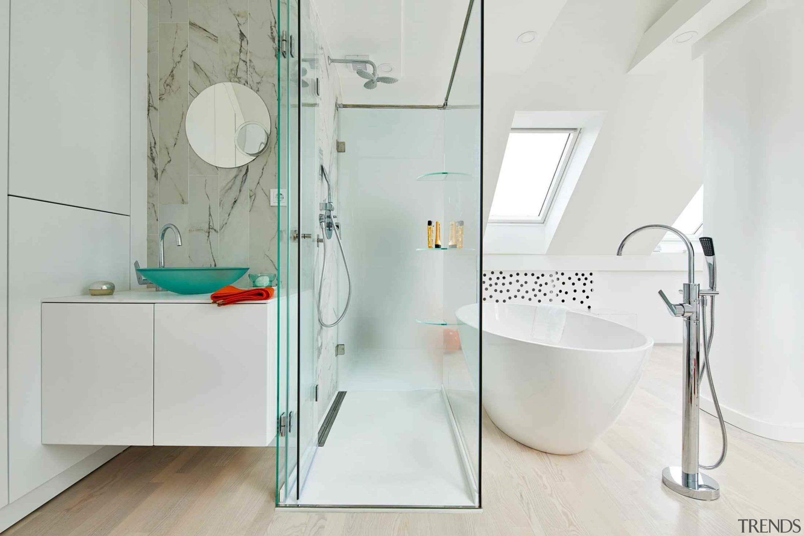 Bathroom in colourful Budapest apartment by Margeza Design angle, bathroom, glass, plumbing fixture, tap, white, gray