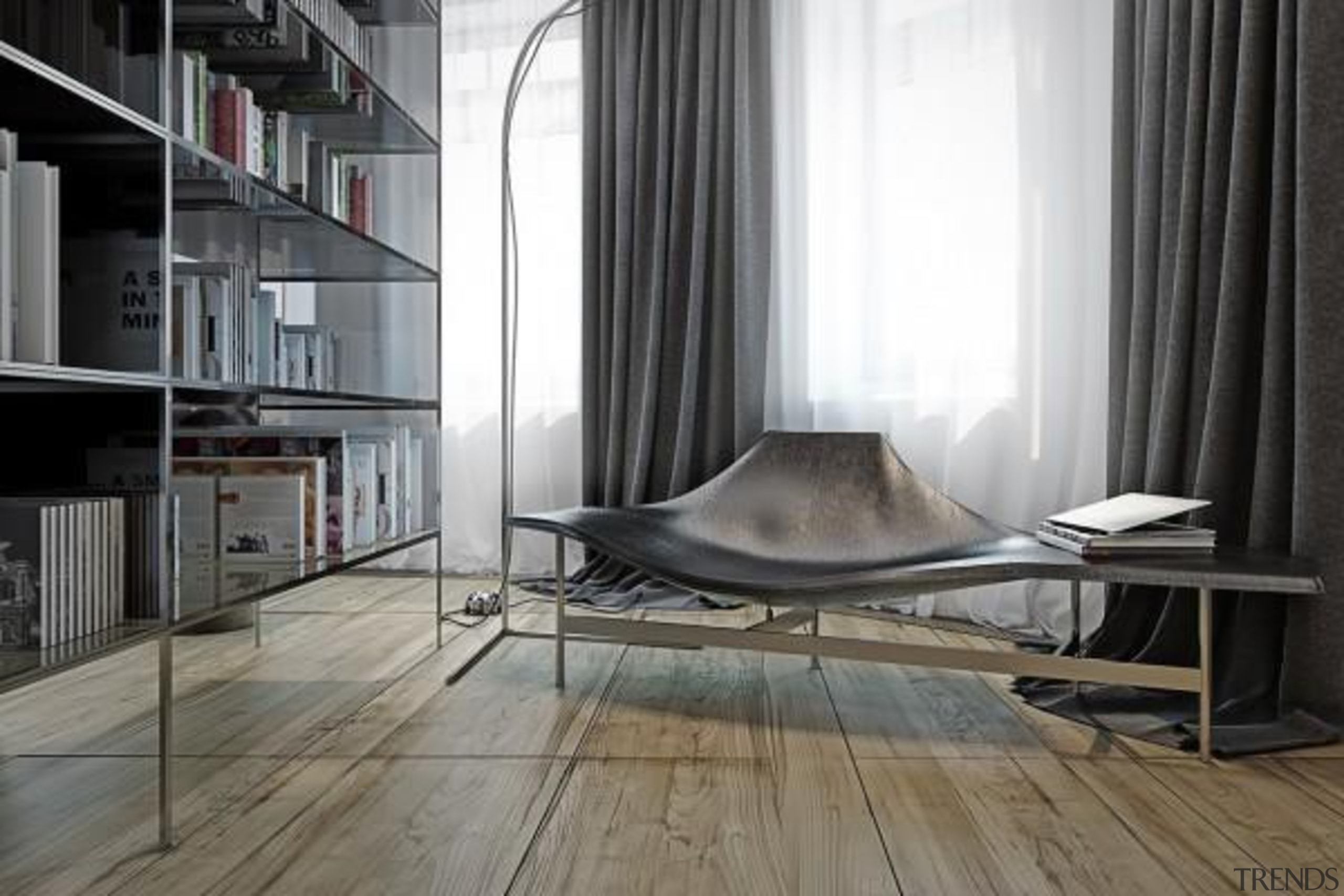 creative chair leather - Masculine Apartments - architecture architecture, chair, floor, flooring, furniture, interior design, product design, window, wood, gray, black