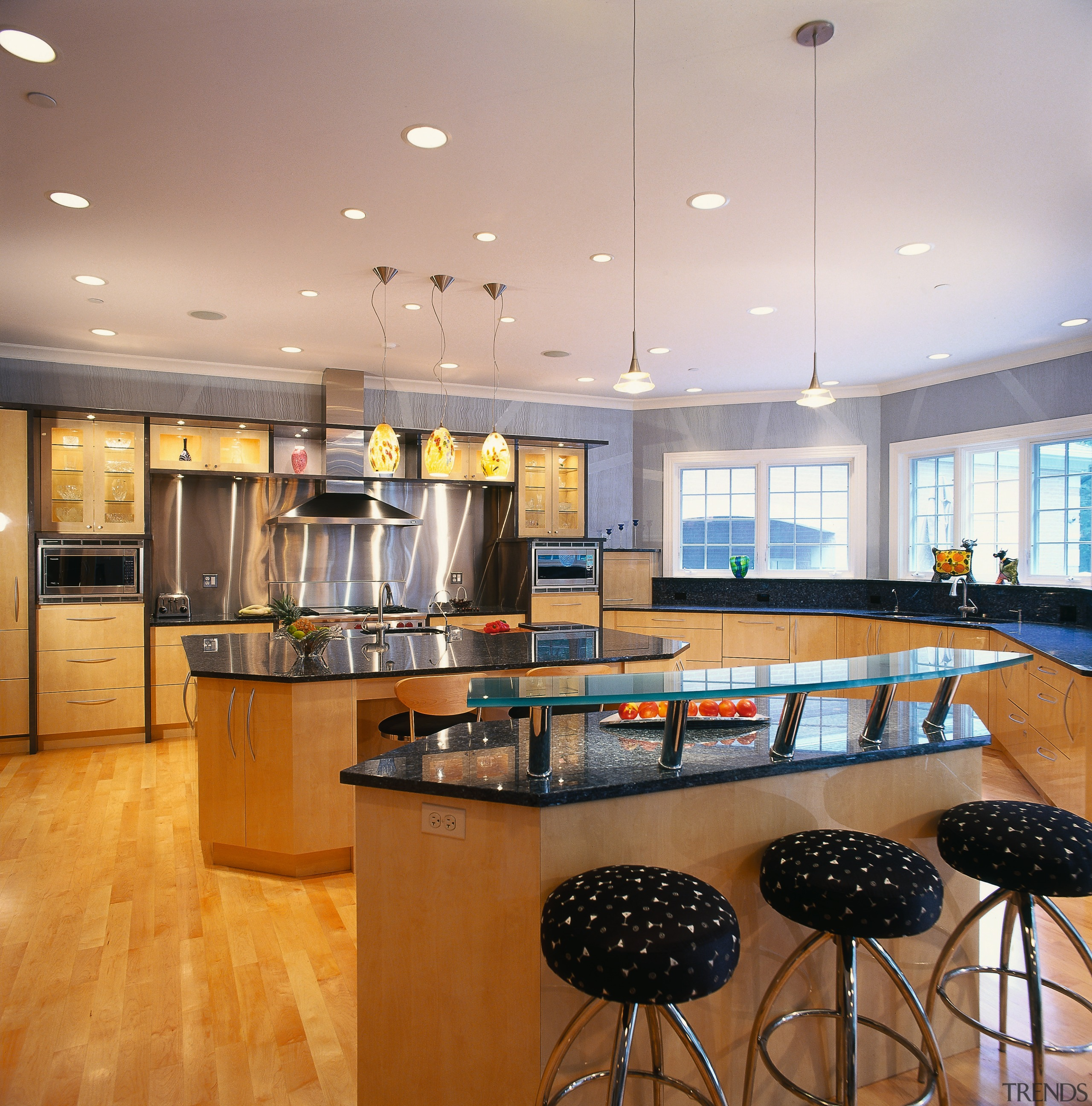 Broad view of the home's kitchen area - ceiling, countertop, interior design, kitchen, real estate, room, gray