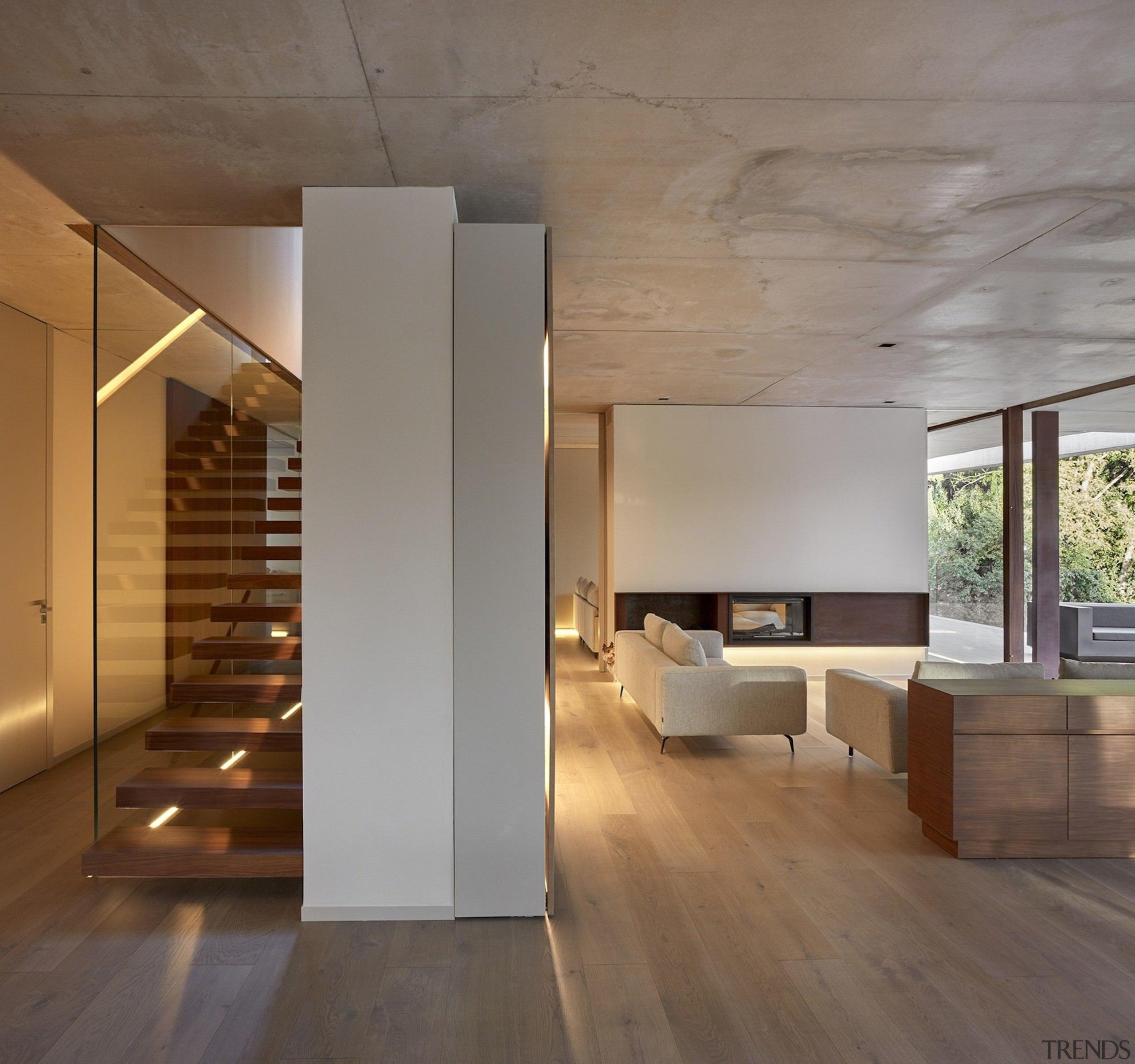 Architect: Ramón Esteve Estudio de Arquitectura architecture, ceiling, daylighting, floor, flooring, hardwood, house, interior design, laminate flooring, loft, stairs, wood, wood flooring, gray, brown