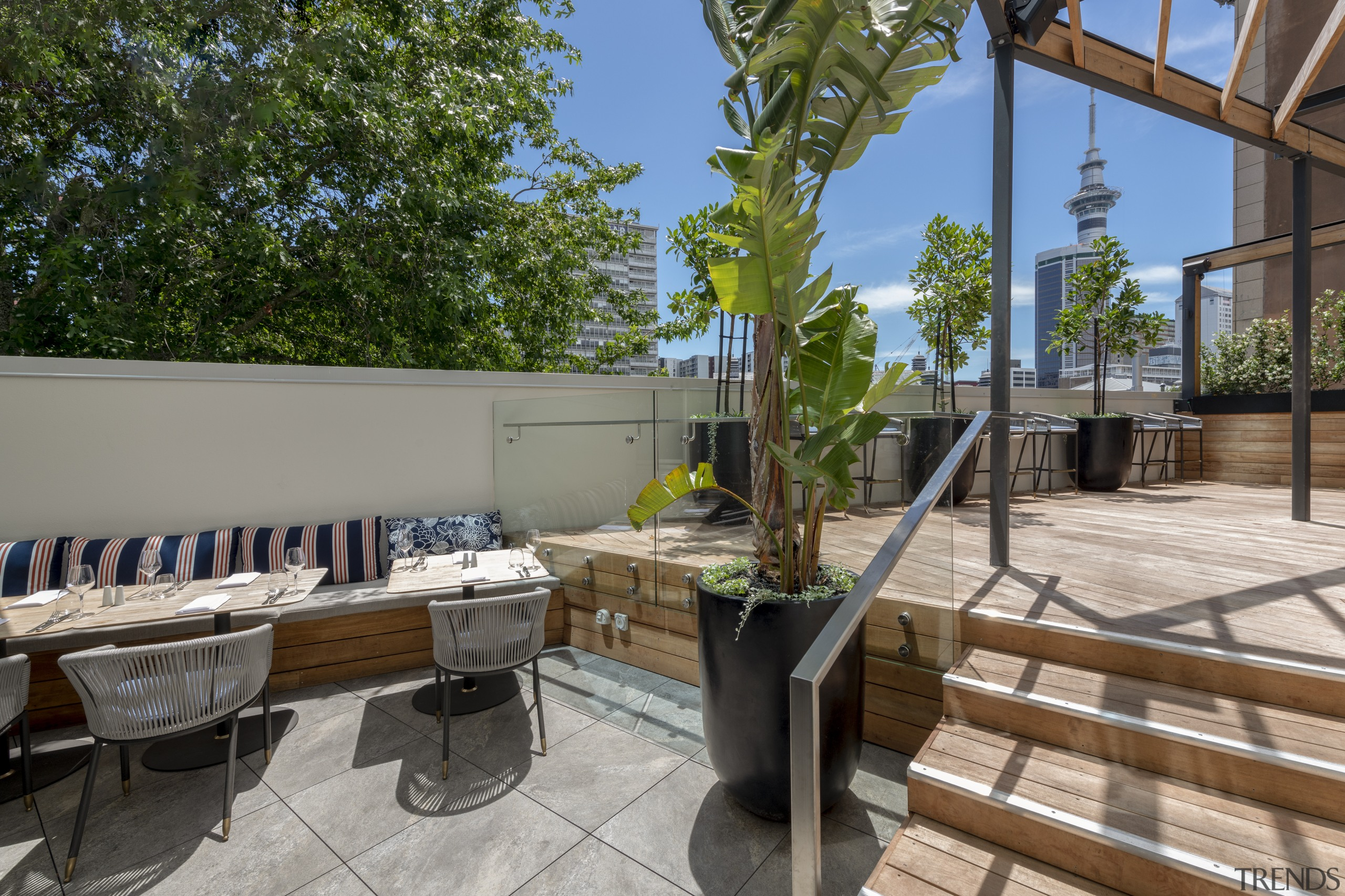 The new Queen's Head terrace at Four Points Terrace, furniture, Four Points Sheraton, Dominion Construction, Russell Property Group
