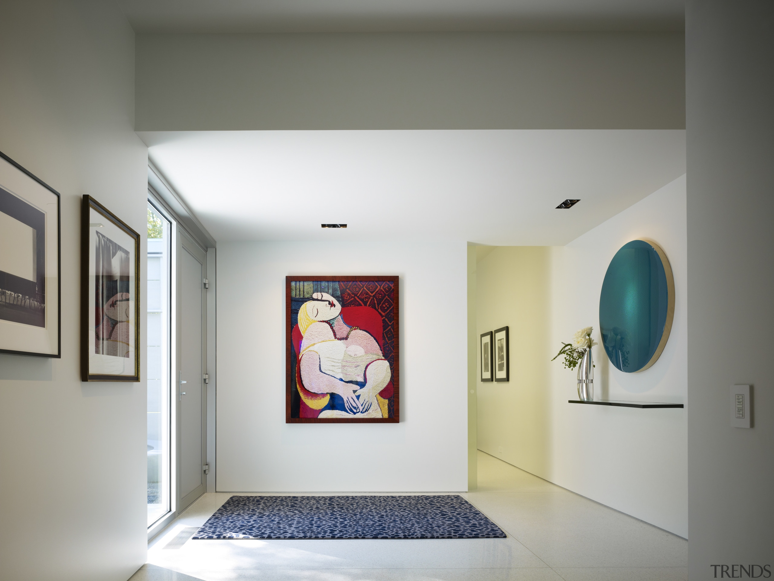 The entry foyer in this home resembles a art, art exhibition, art gallery, ceiling, exhibition, interior design, modern art, museum, room, tourist attraction, gray