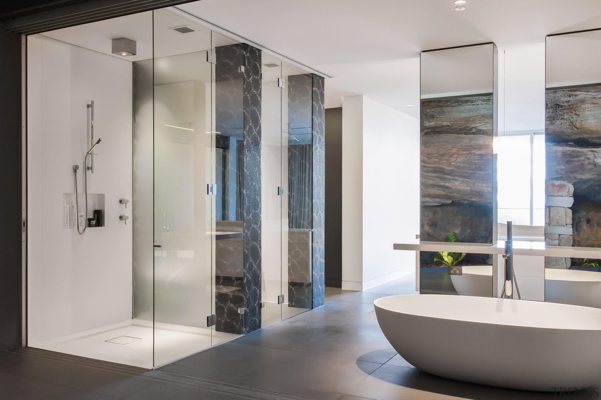 Winner Bathroom Design of the Year 2013 New bathroom, floor, glass, interior design, plumbing fixture, gray