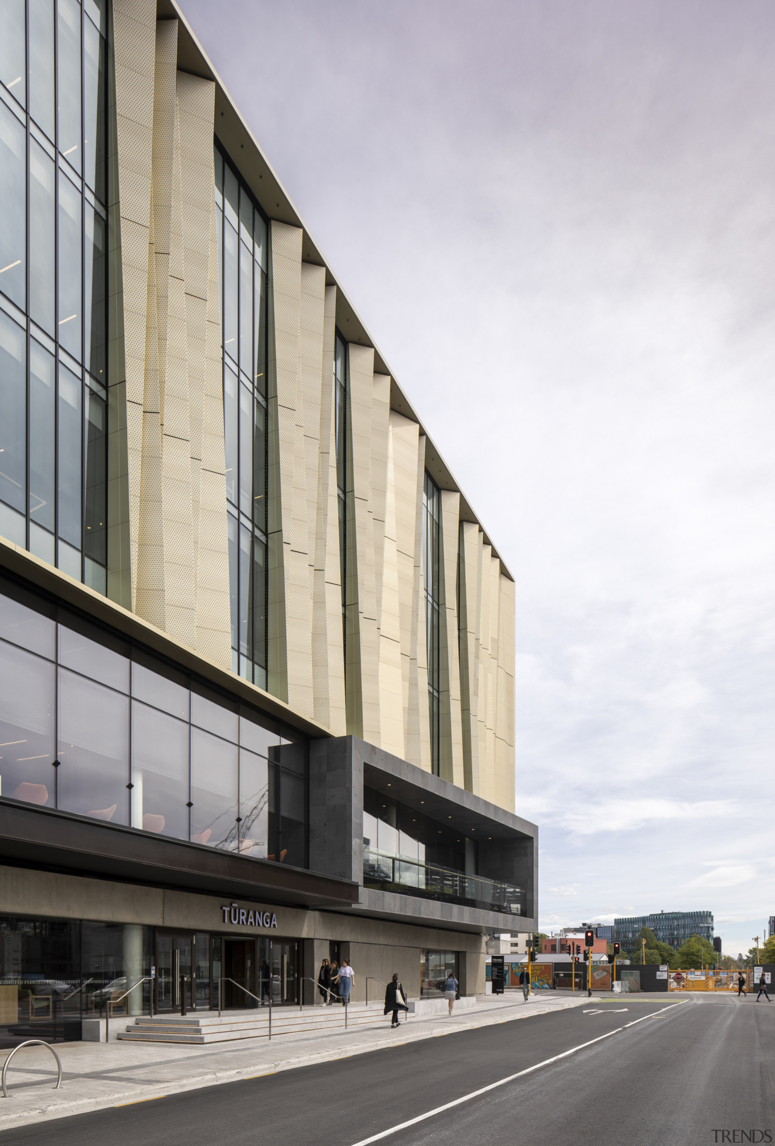 Christchurch Central Library – a celebration of culture apartment, architecture, brutalist architecture, building, commercial building, condominium, corporate headquarters, facade, headquarters, metropolitan area, mixed use, neighbourhood, residential area, sky, structure, white, gray