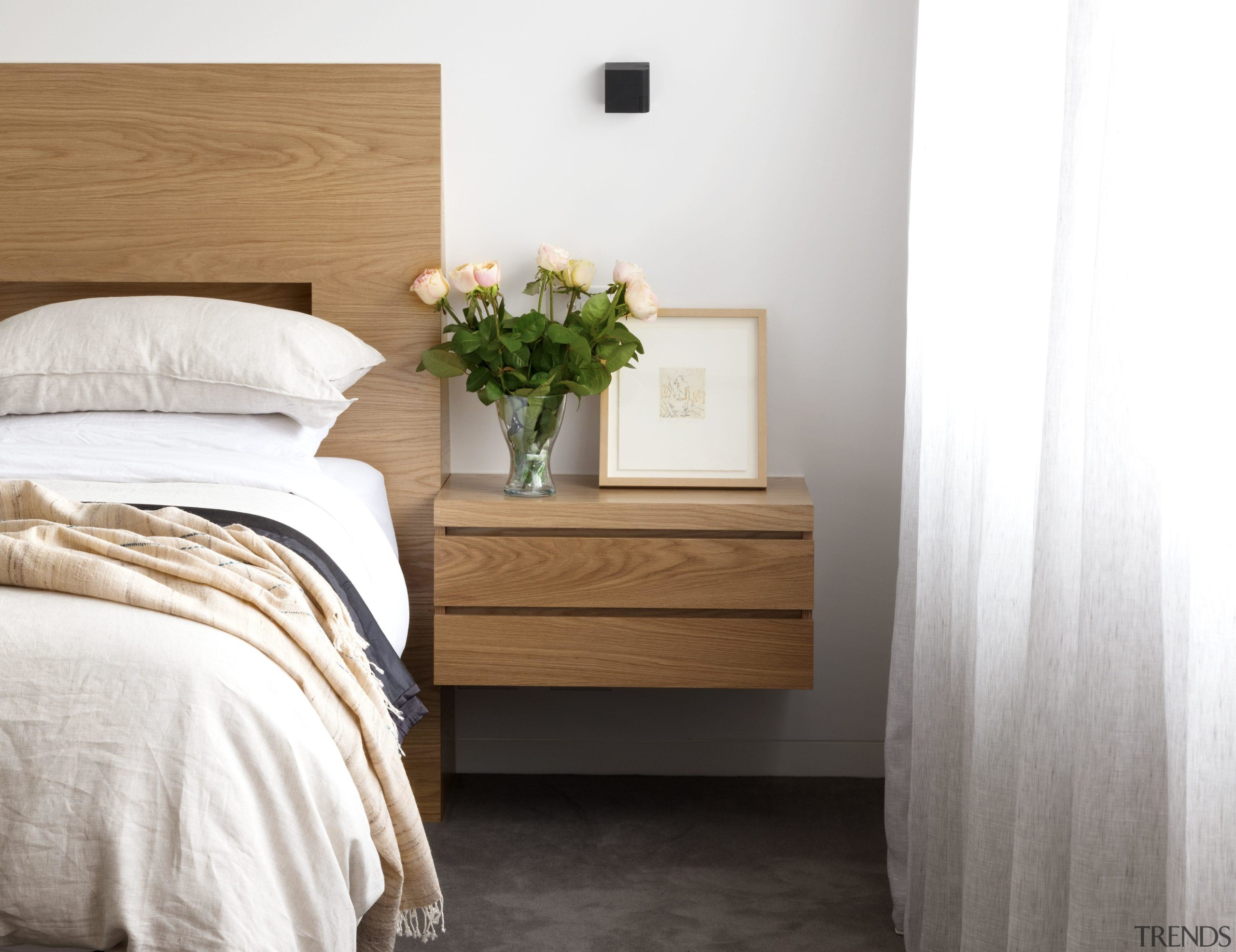 Cantilevering the side tables in the master bedroom architecture, bed, bed frame, bed sheet, bedding, bedroom, chest of drawers, comfort, drawer, duvet, floor, flooring, furniture, hardwood, home, house, interior design, mattress, nightstand, property, room, table, textile, wall, wood, white