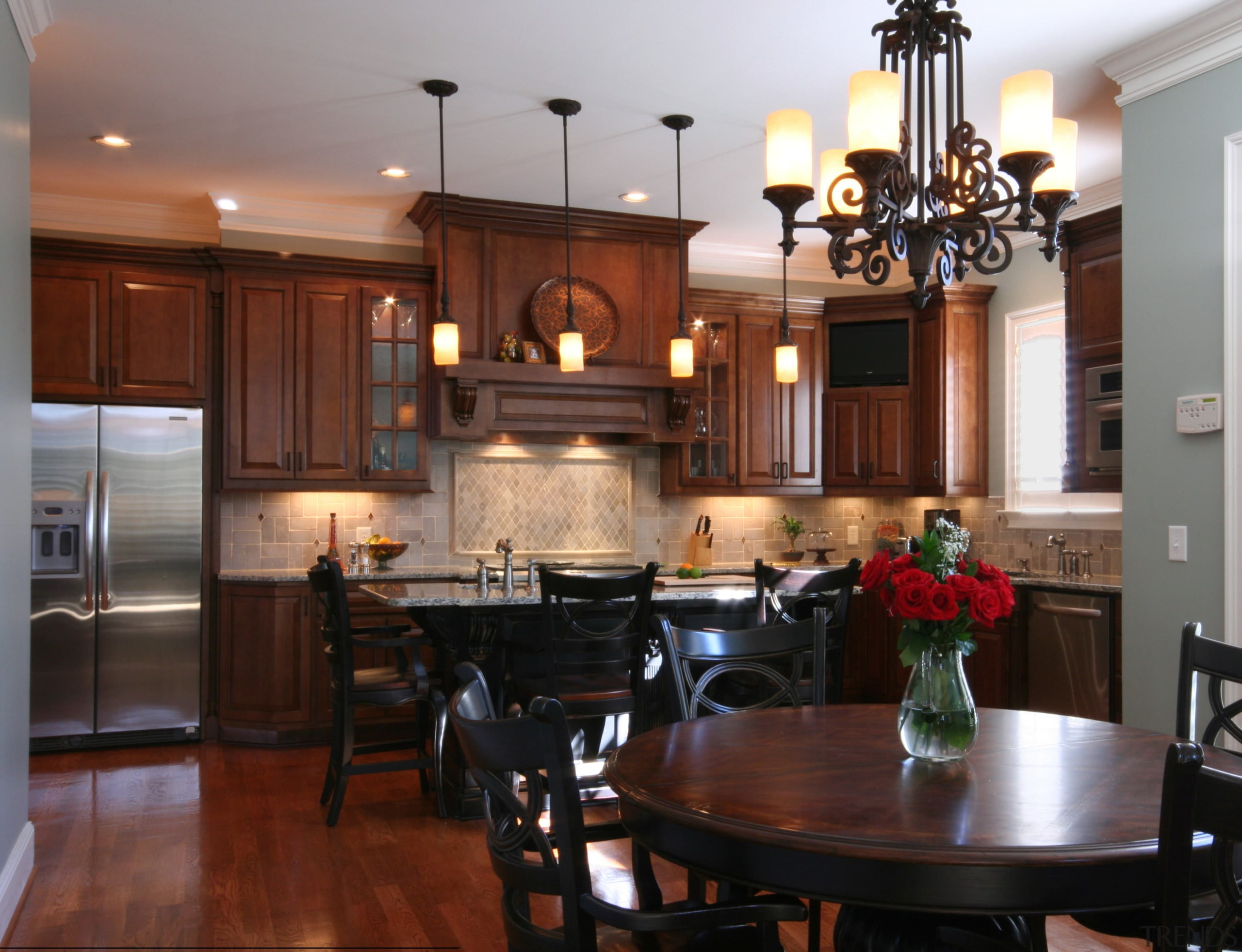 Dark timber kitchen - stainless fridge - traditional cabinetry, countertop, cuisine classique, dining room, flooring, hardwood, interior design, kitchen, room, wood flooring, gray, red