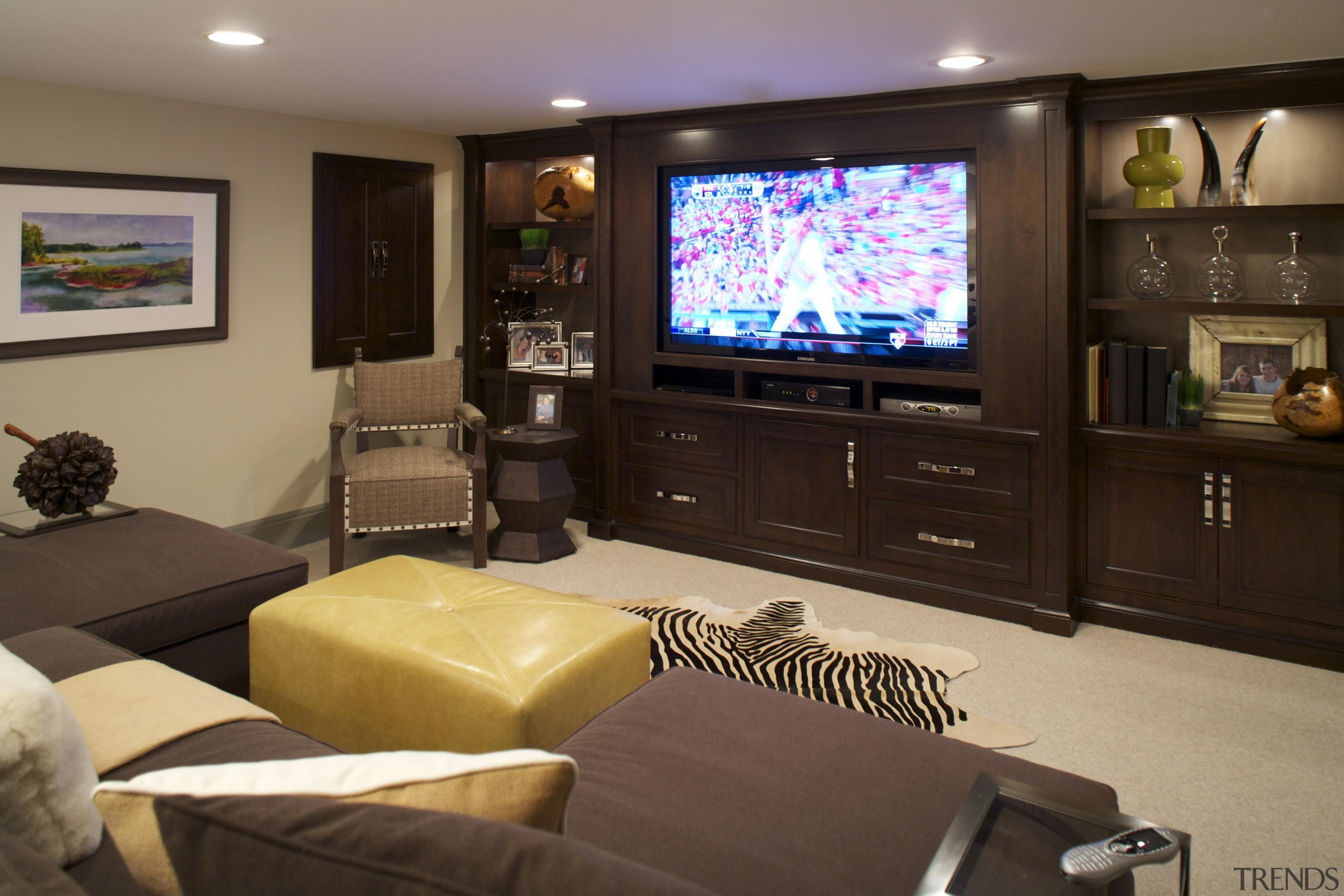 Historic Bungalow Renovation - Basement - Custom  entertainment, interior design, living room, room, black, brown
