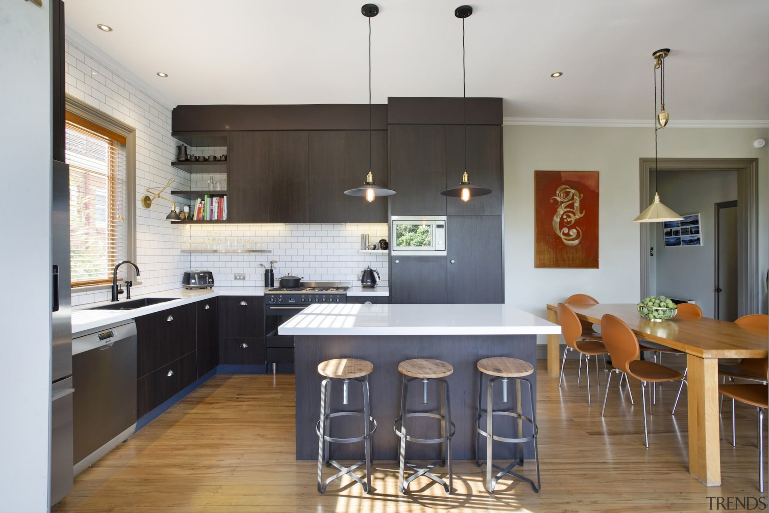 Moving to an 'L' shape kitchen means there's cabinetry, countertop, cuisine classique, interior design, kitchen, real estate, room, white