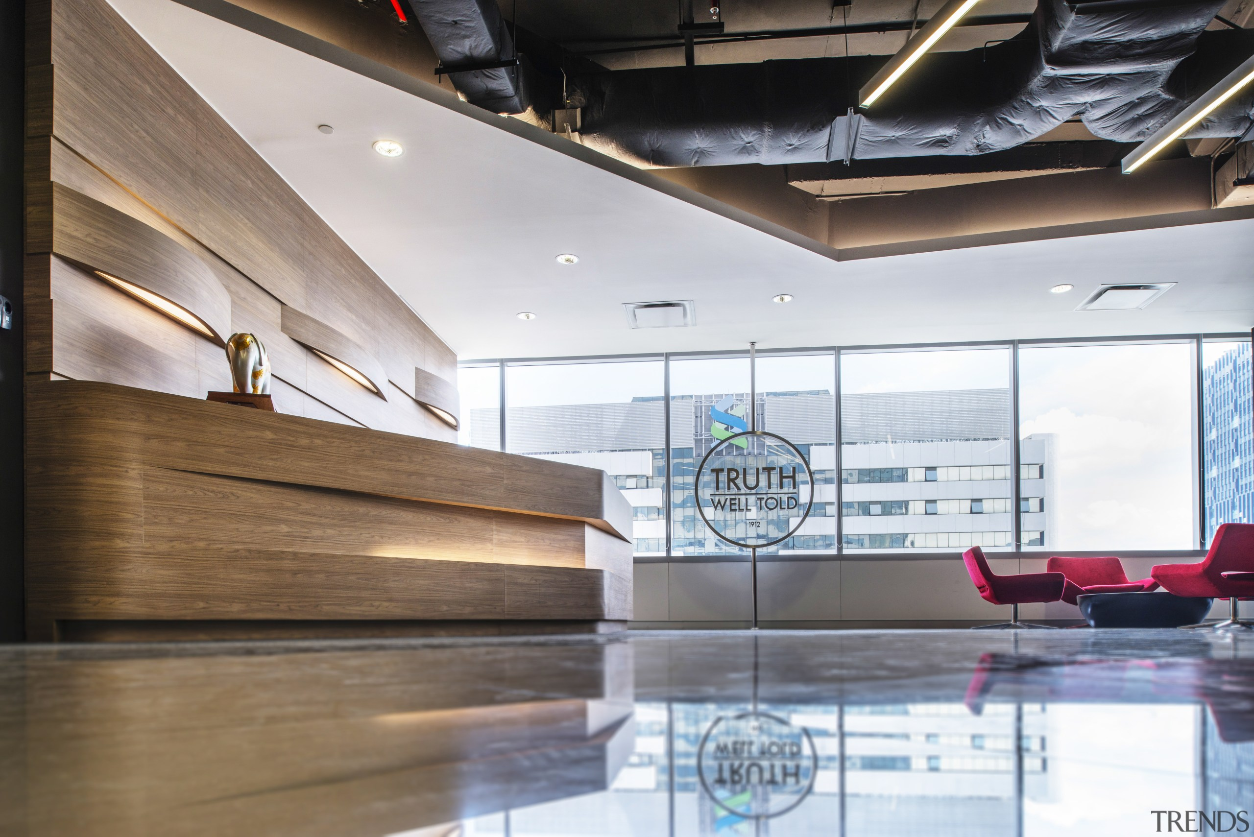 Selected areas of the McCann Worldgroup office fit-out, architecture, ceiling, daylighting, floor, interior design, lobby, white