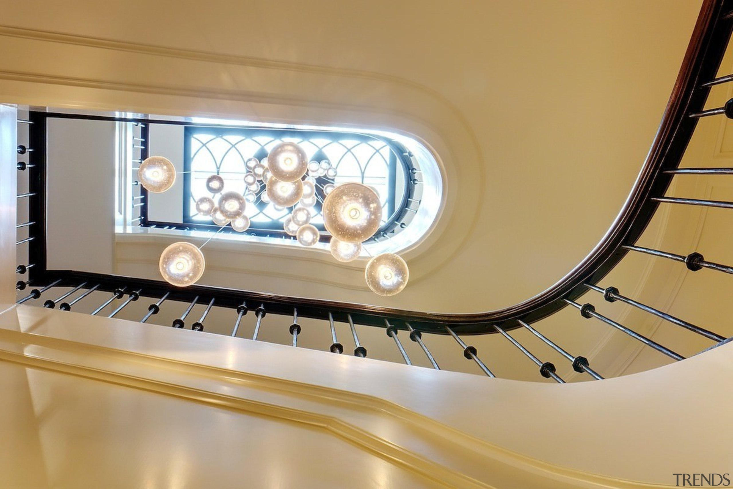 Looking up to the skylight - Looking up architecture, ceiling, daylighting, interior design, lighting, stairs, orange