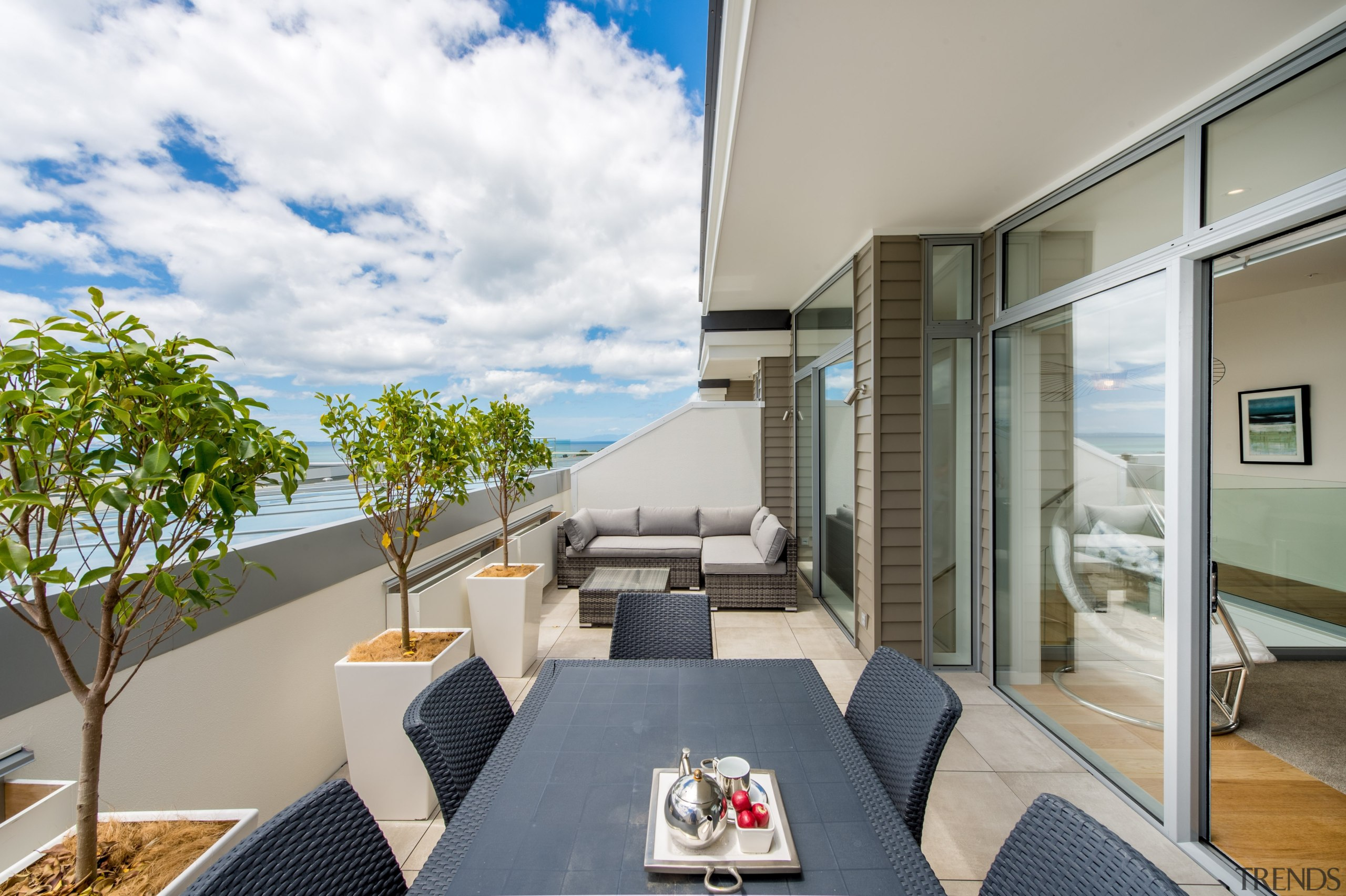 Deck with seaview - Deck with seaview - apartment, architecture, balcony, condominium, house, interior design, penthouse apartment, real estate, gray