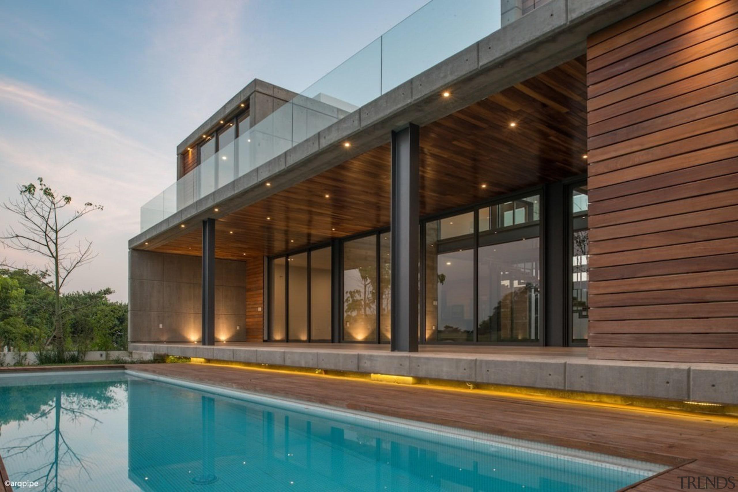 Colima home/Di Frenna Arquitectos - Colima home/Di Frenna architecture, estate, facade, home, house, property, real estate, swimming pool, brown, gray