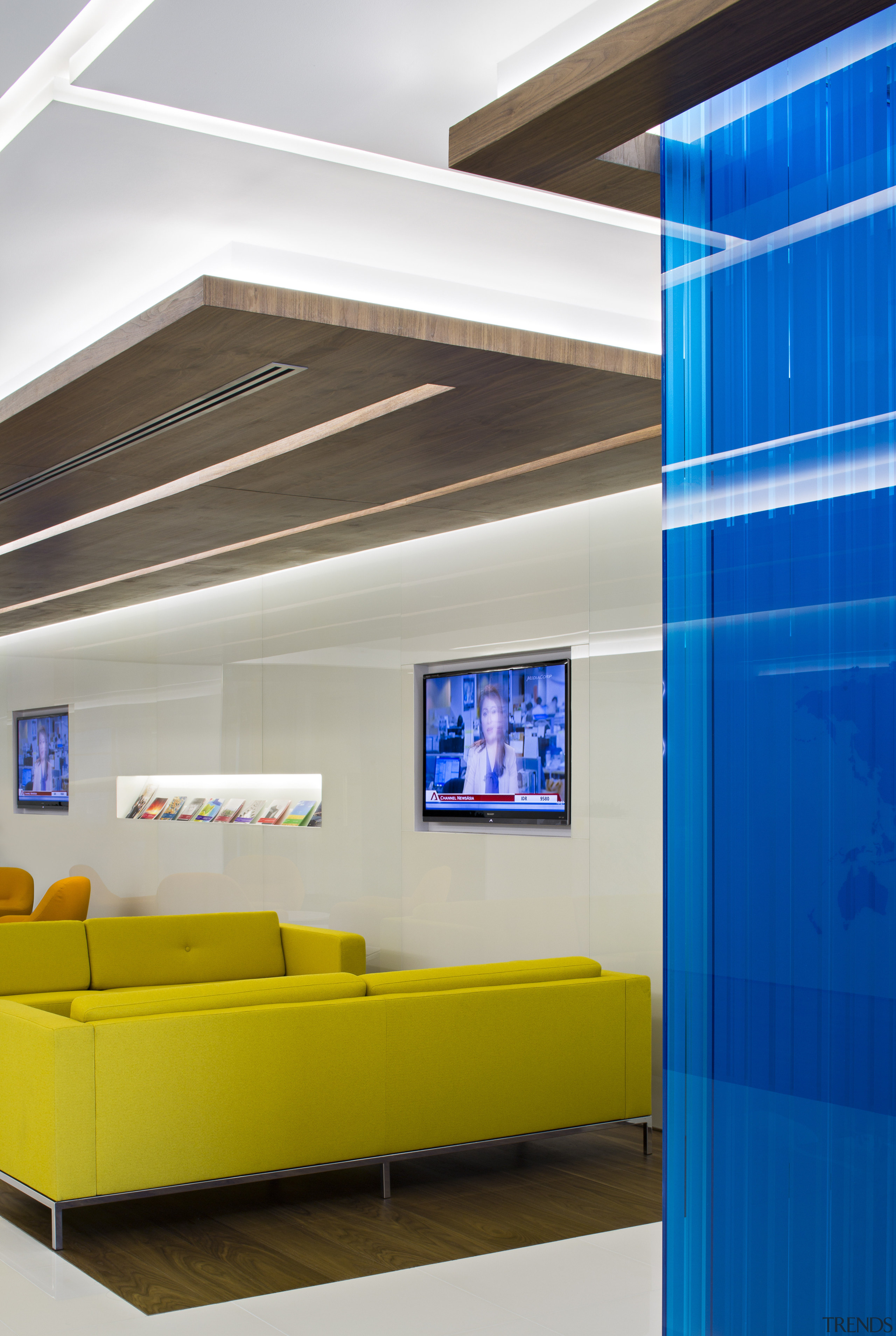 With its glossy white finishes and bold colour architecture, ceiling, daylighting, interior design, product design, white
