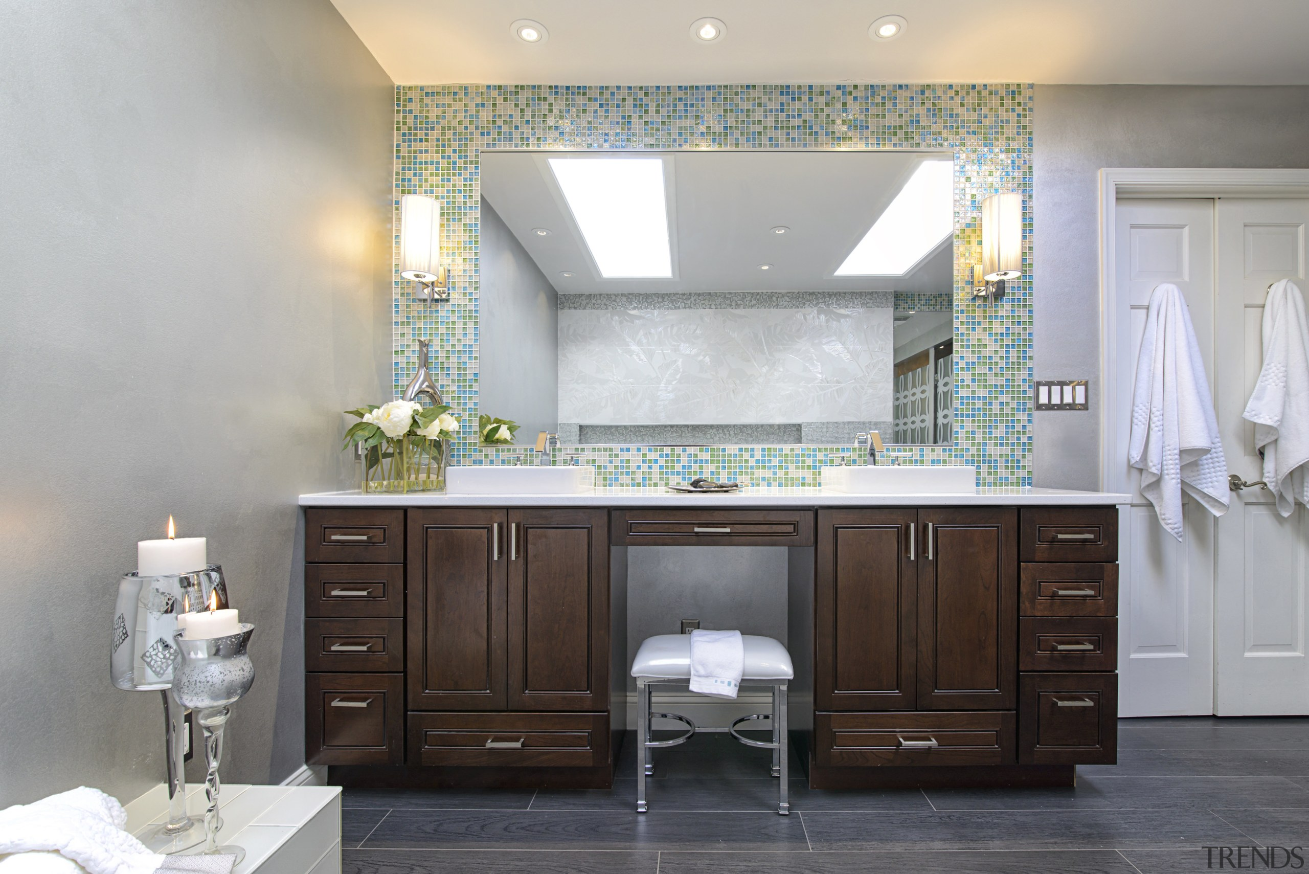 The blues and greens of the this mosaic bathroom, bathroom accessory, bathroom cabinet, cabinetry, countertop, home, interior design, room, gray