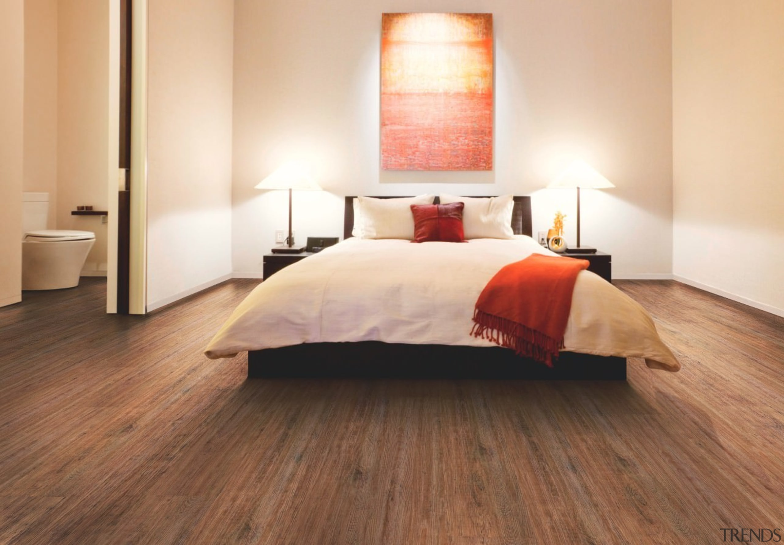 The Expona Commercial Wood collection features an extensive bed, bed frame, bedroom, ceiling, floor, flooring, hardwood, interior design, laminate flooring, property, room, suite, wood, wood flooring, brown, orange, white
