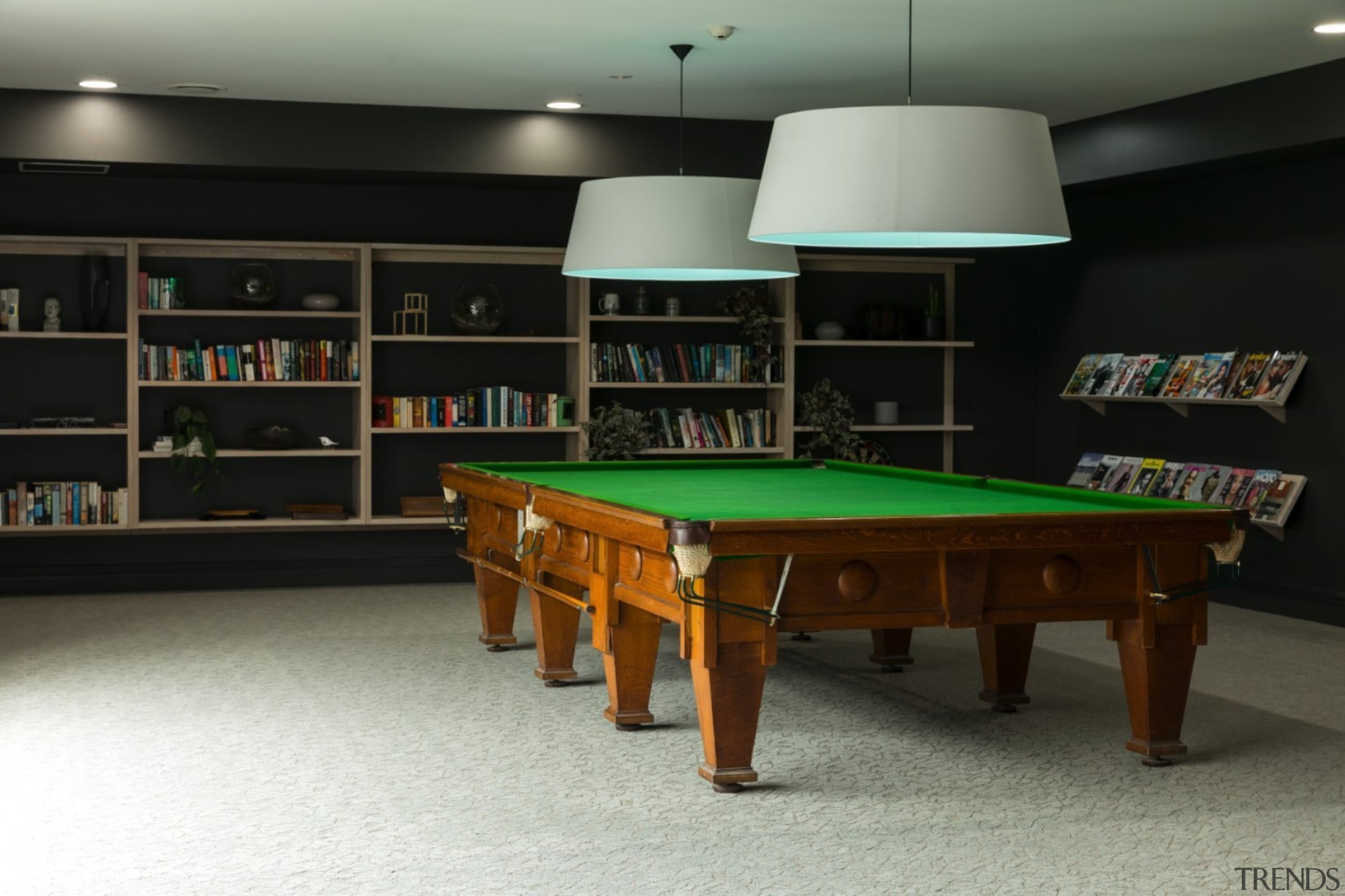 The TIDA NZ Architect-designed apartment winner – Paul billiard room, billiard table, cue sports, english billiards, furniture, games, indoor games and sports, interior design, pool, recreation room, room, table, black, gray
